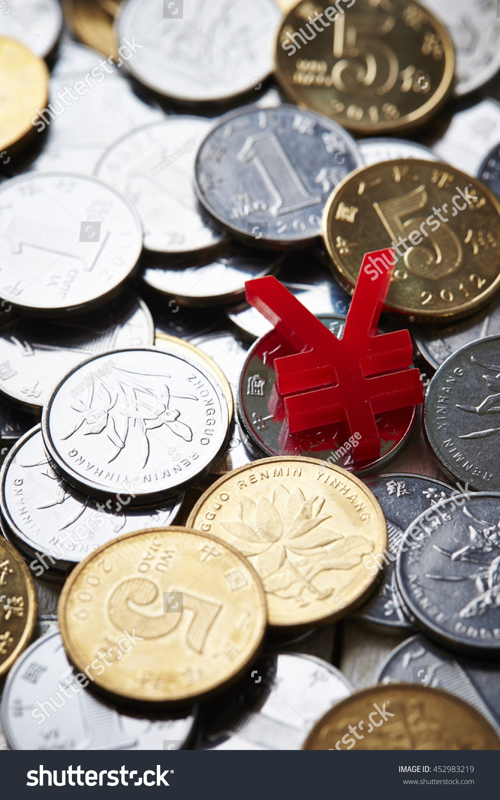 Chinese rmb coins currency symbol stock photo 452983219 shutterstock chinese rmb coins with currency symbol buycottarizona Gallery