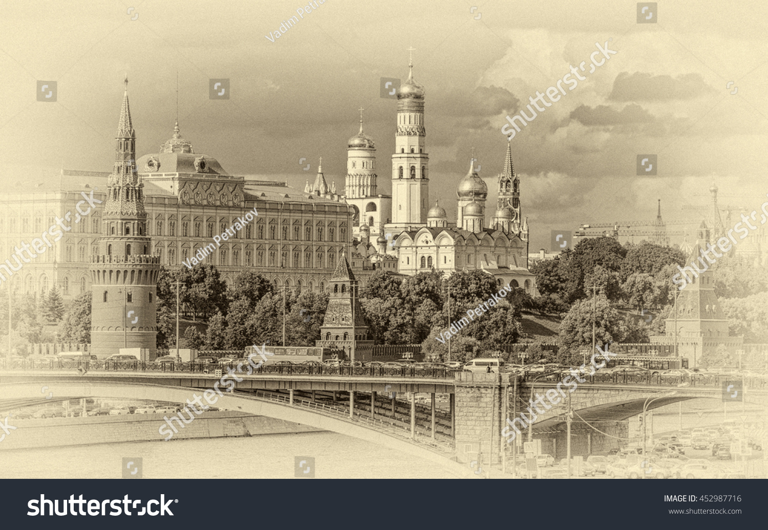 Views of the Grand Palace the Church and towers of the Moscow Kremlin Russian Federation stylized retro