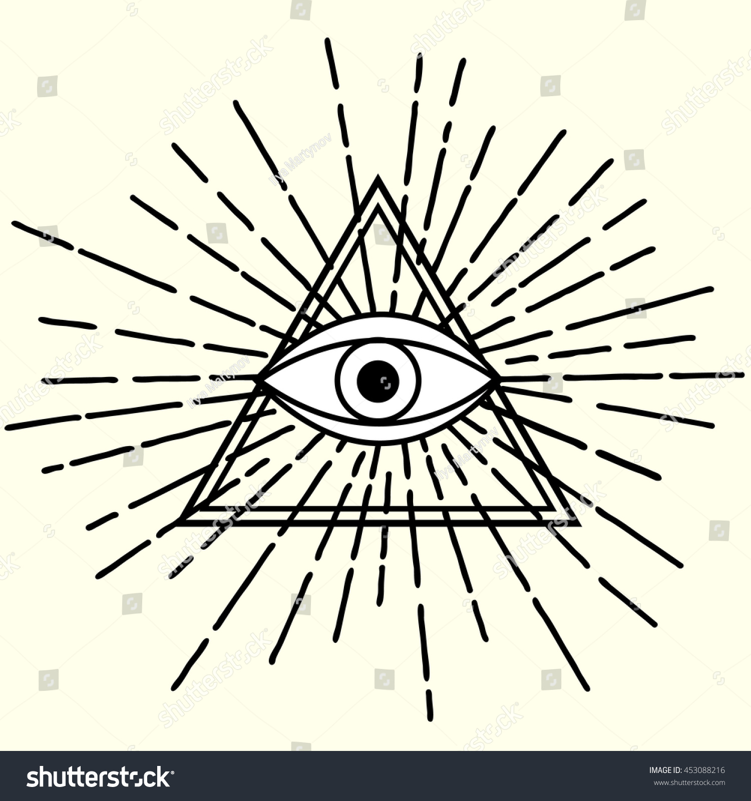 All seeing eye triangle symbol rays stock vector 453088216 all seeing eye in triangle symbol with rays biocorpaavc Images