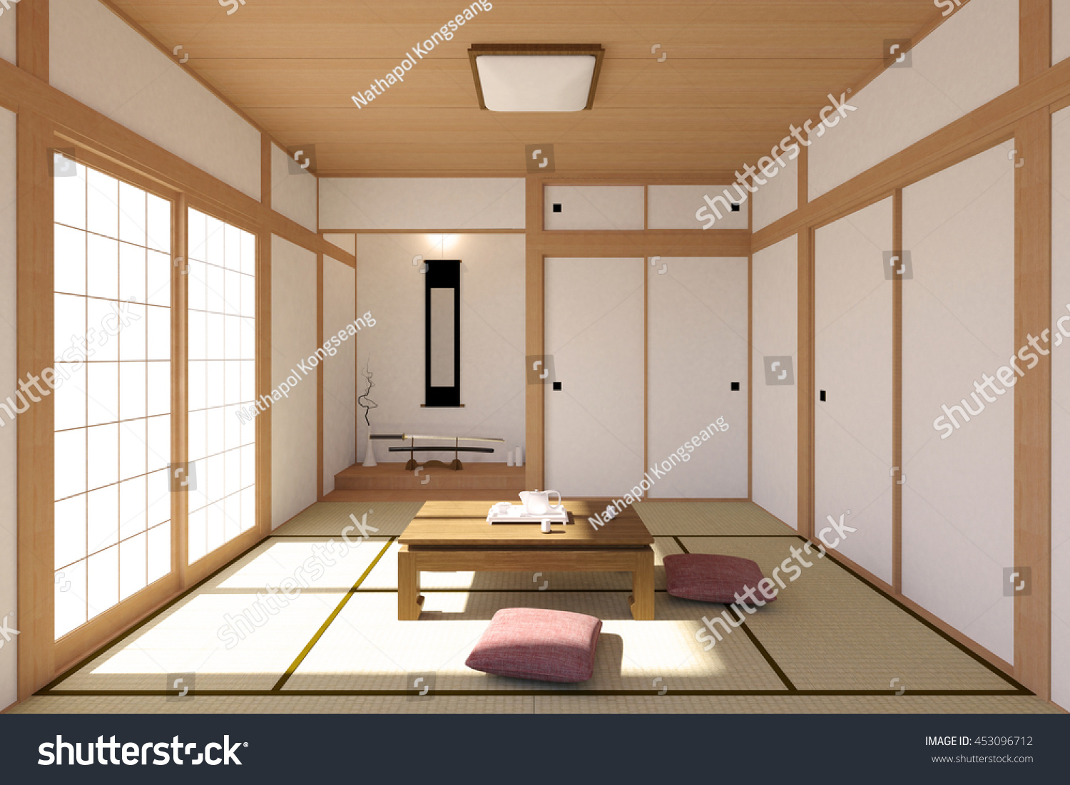 Japanese living room interior in traditional and minimal design with tatami mat floor japanese shoji