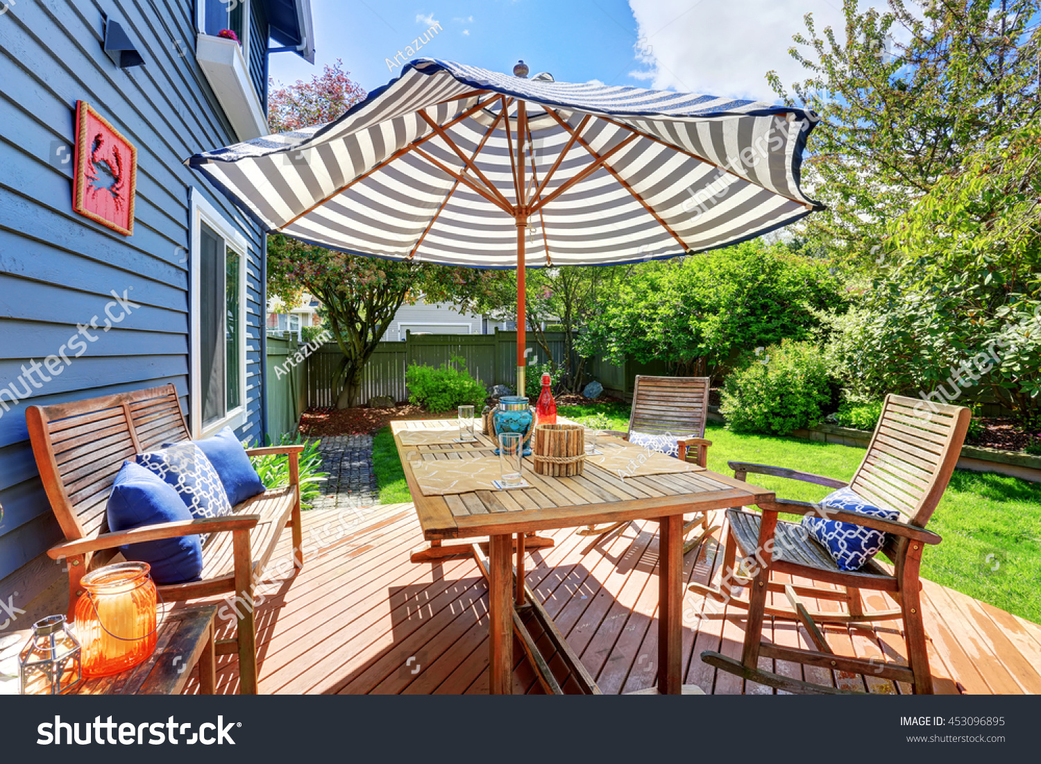 wooden walkout deck backyard garden blue stock photo 453096895