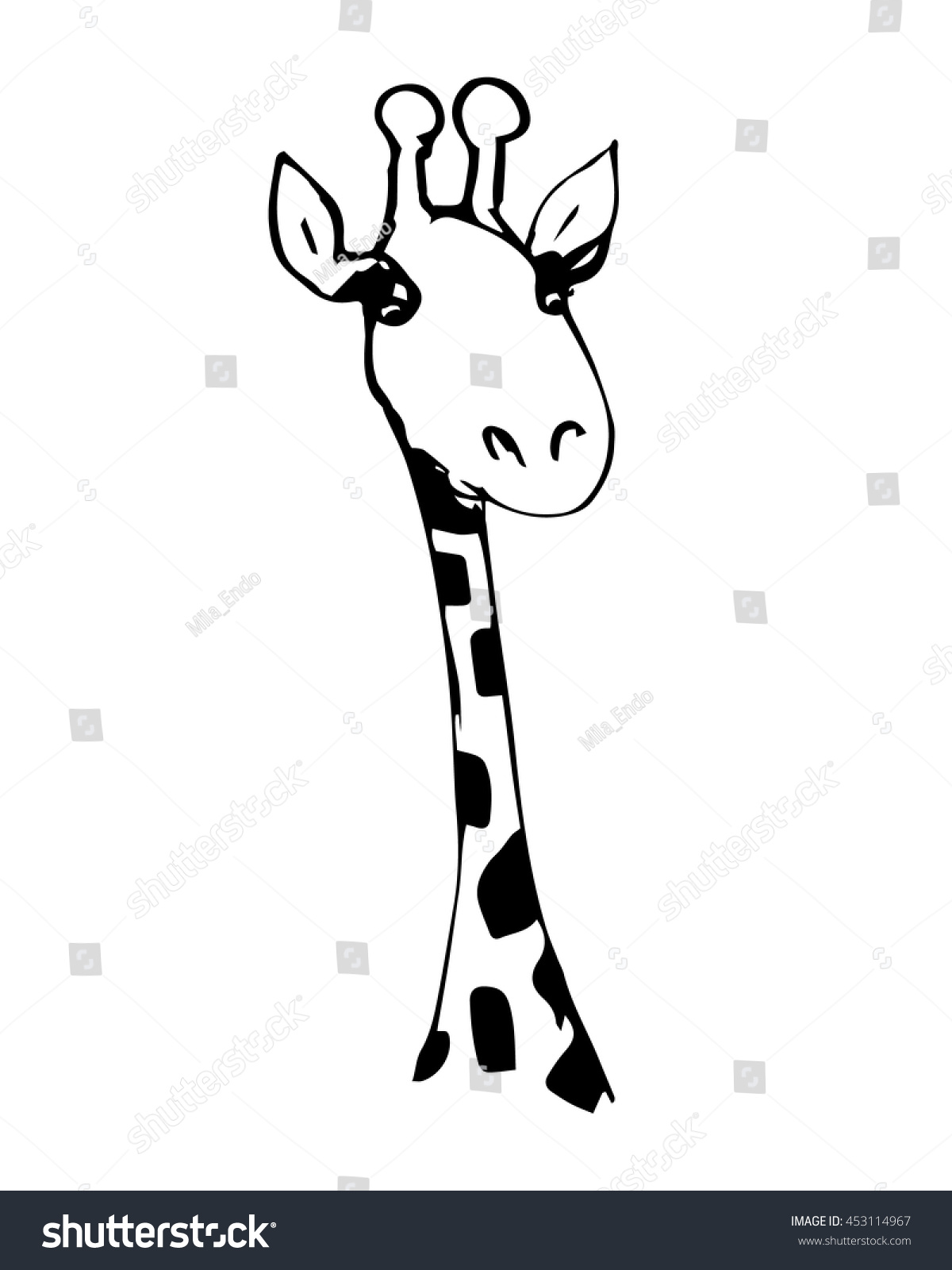 abstract drawing head giraffe black white stock vector 453114967
