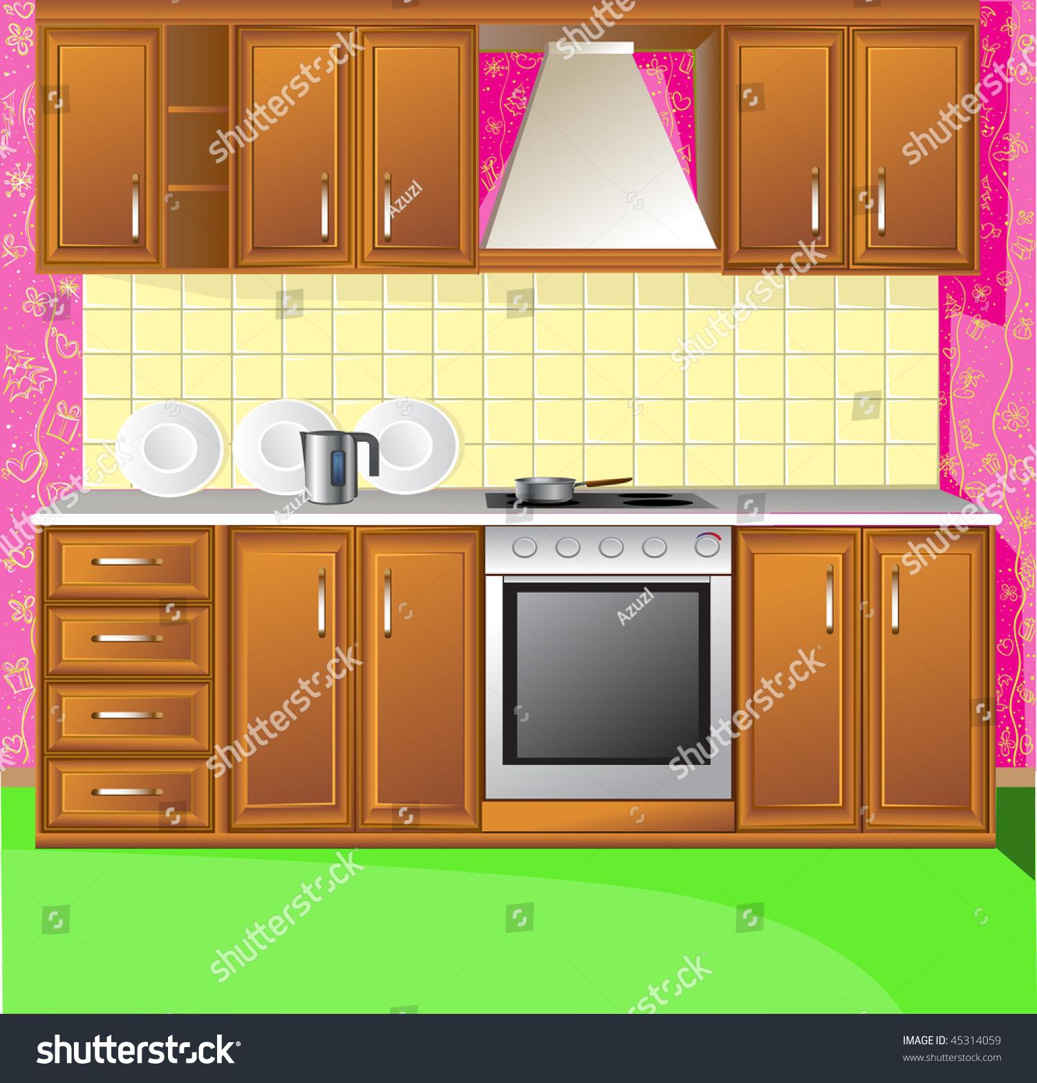 Light Pink Kitchen Vecor Stock Vector Illustration