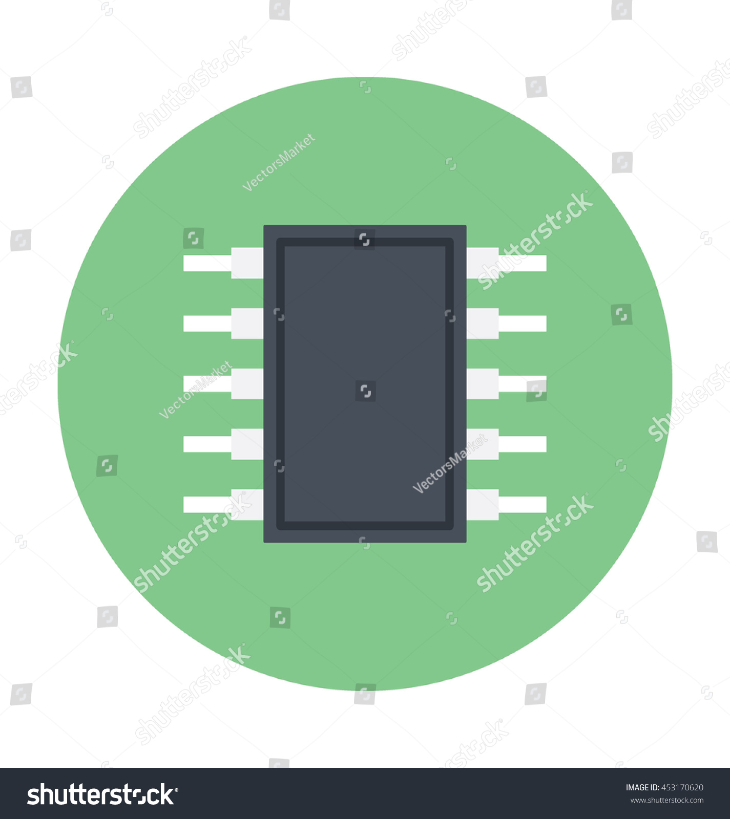 Integrated Circuit Colored Vector Icon Stock Royalty Free Circuits Used As Background Photos