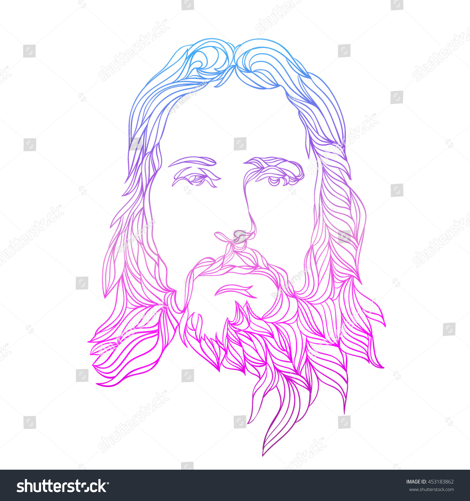 Graphical Color Face Jesus Hand Drawn Vector de stock (libre de ...