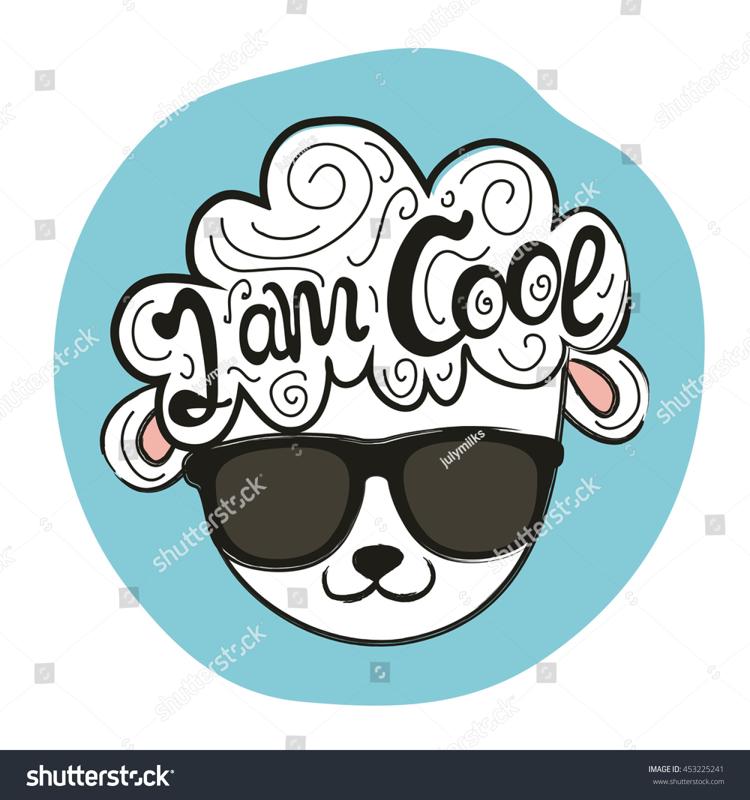 T shirt design inspiration typography - Vector Illustration With Stylish Sheep Head In Sunglasses I Am Cool Quote Inspiration Typography