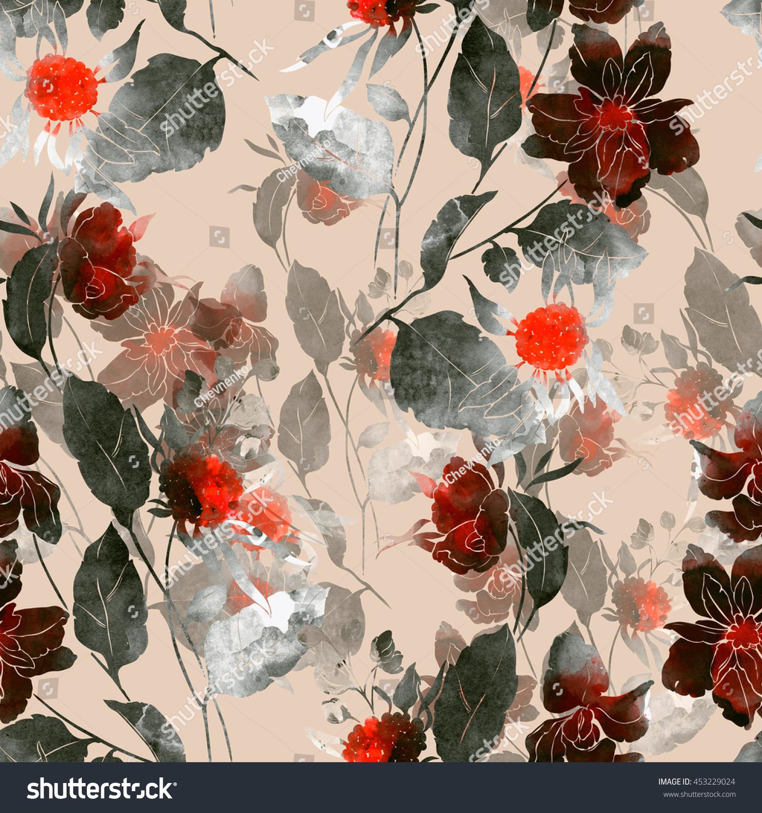 Botanical Print Wallpaper Imprint Fantastic Paint Bouquet Hand Painted Stock