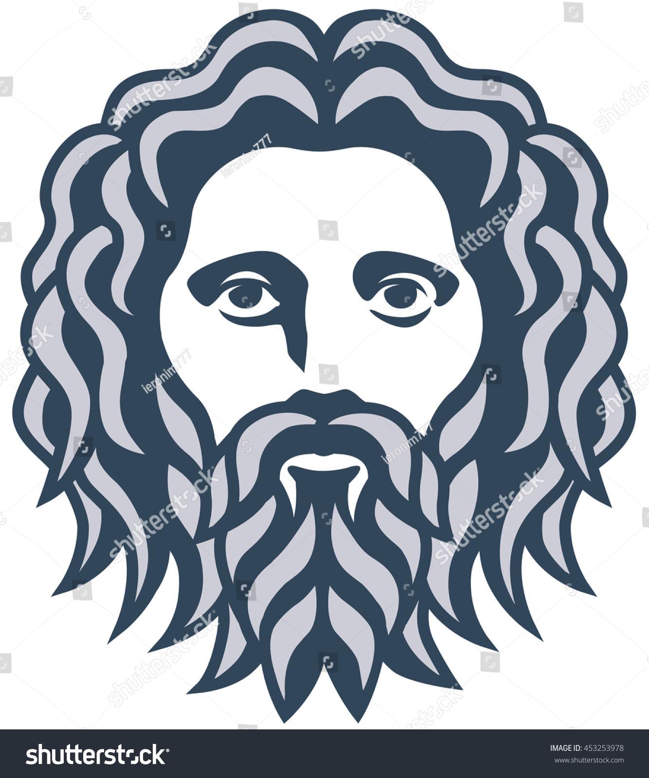 graphic portrait ancient greek god zeus stock vector 453253978
