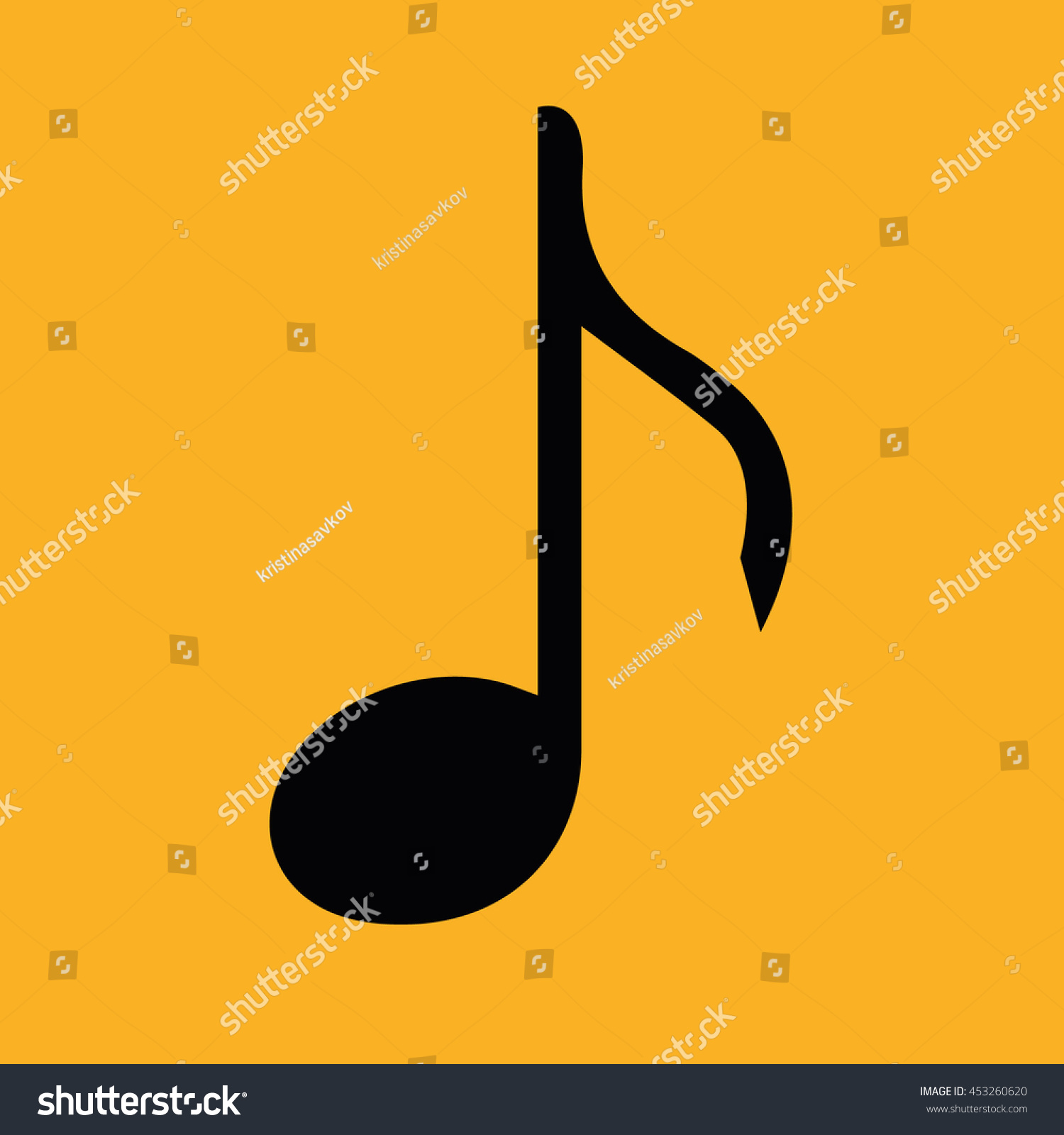 Black music note vector icon. Yellow background | EZ Canvas