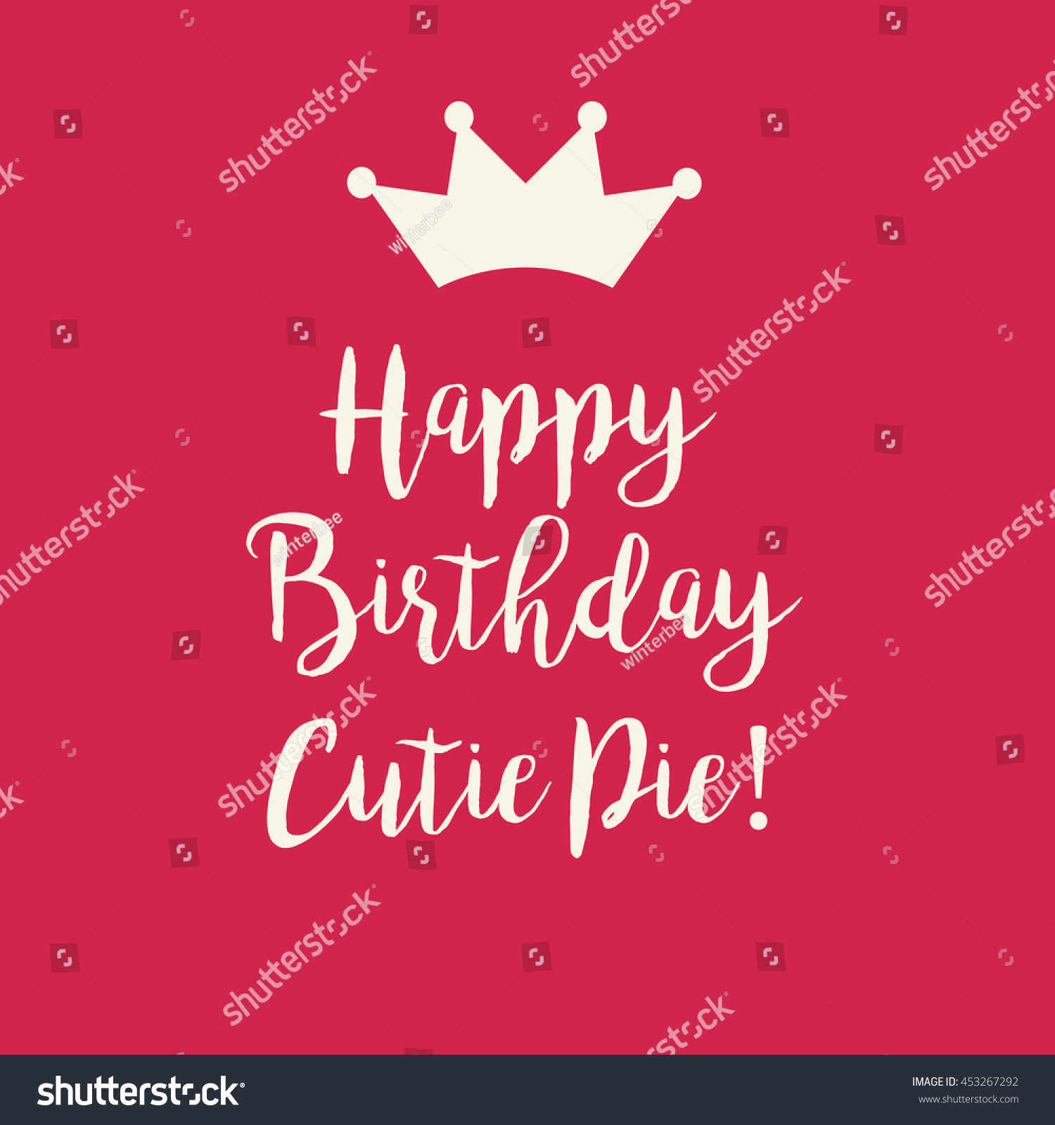 Cute Happy Birthday Cutie Pie Card With A Text And Princess Crown On Red