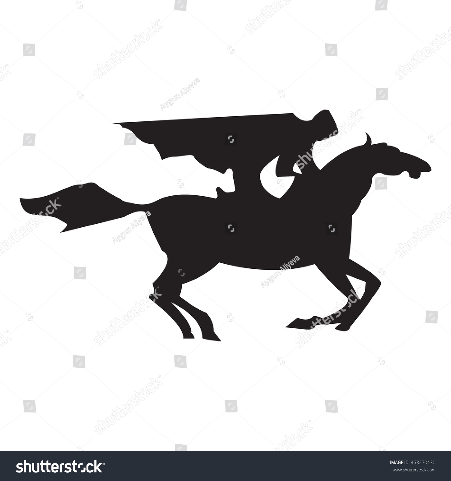 Horse Race Derby Silhouette Of Racing With Jockey On Isolated Background