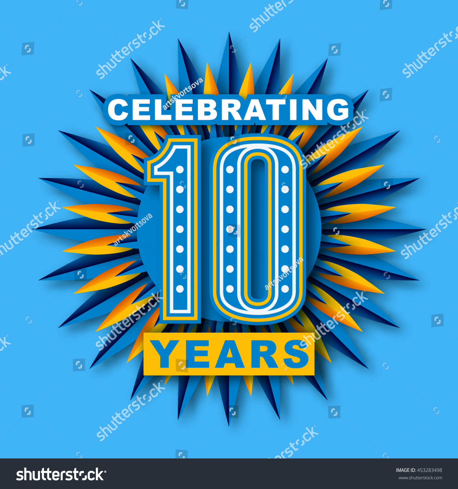 10th Anniversary Celebration 10 Years Number Stock Vector Royalty