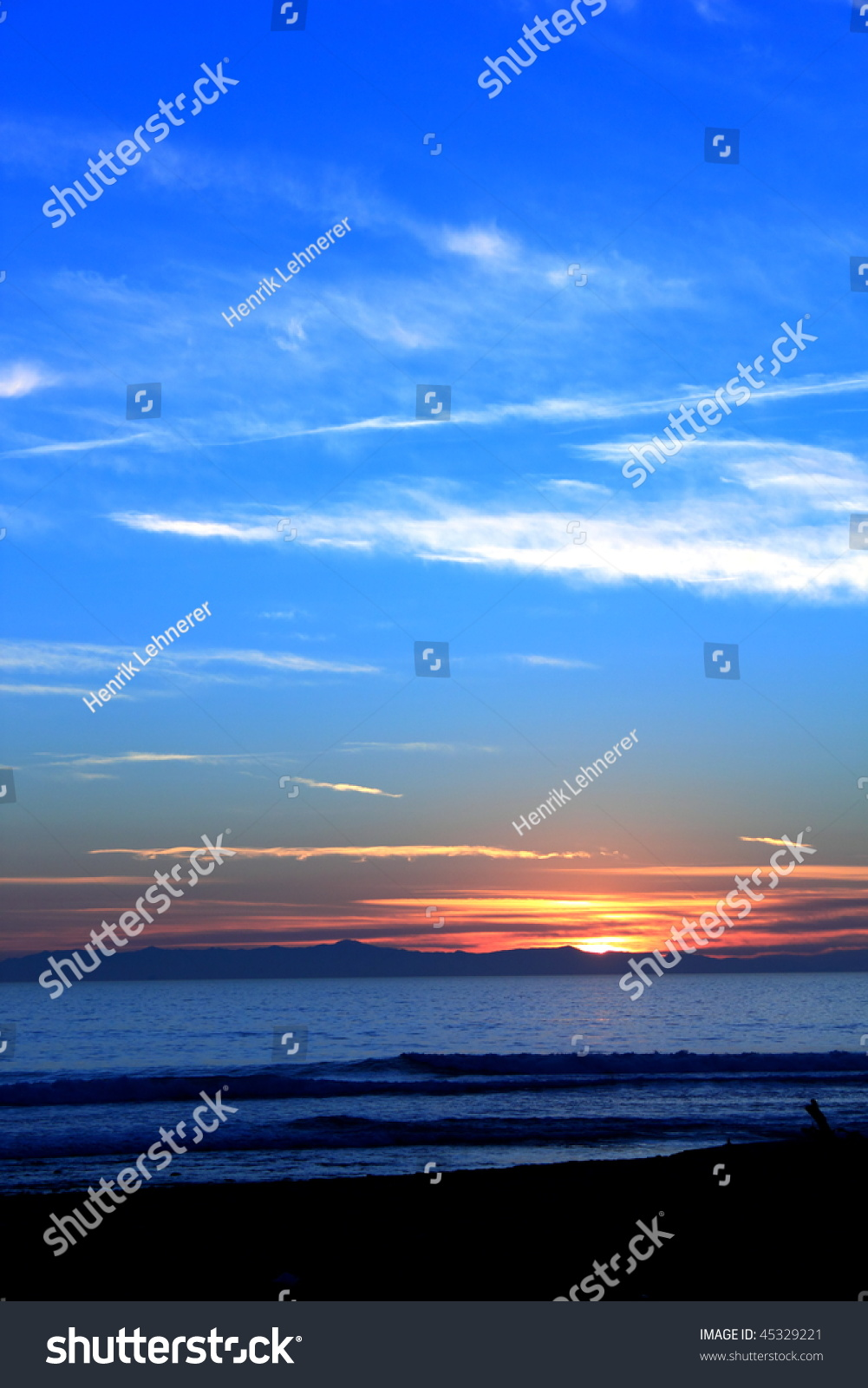 Sunset Channel Islands Harbor: Beautiful Sunset Over The Ocen At Ventura Beach With