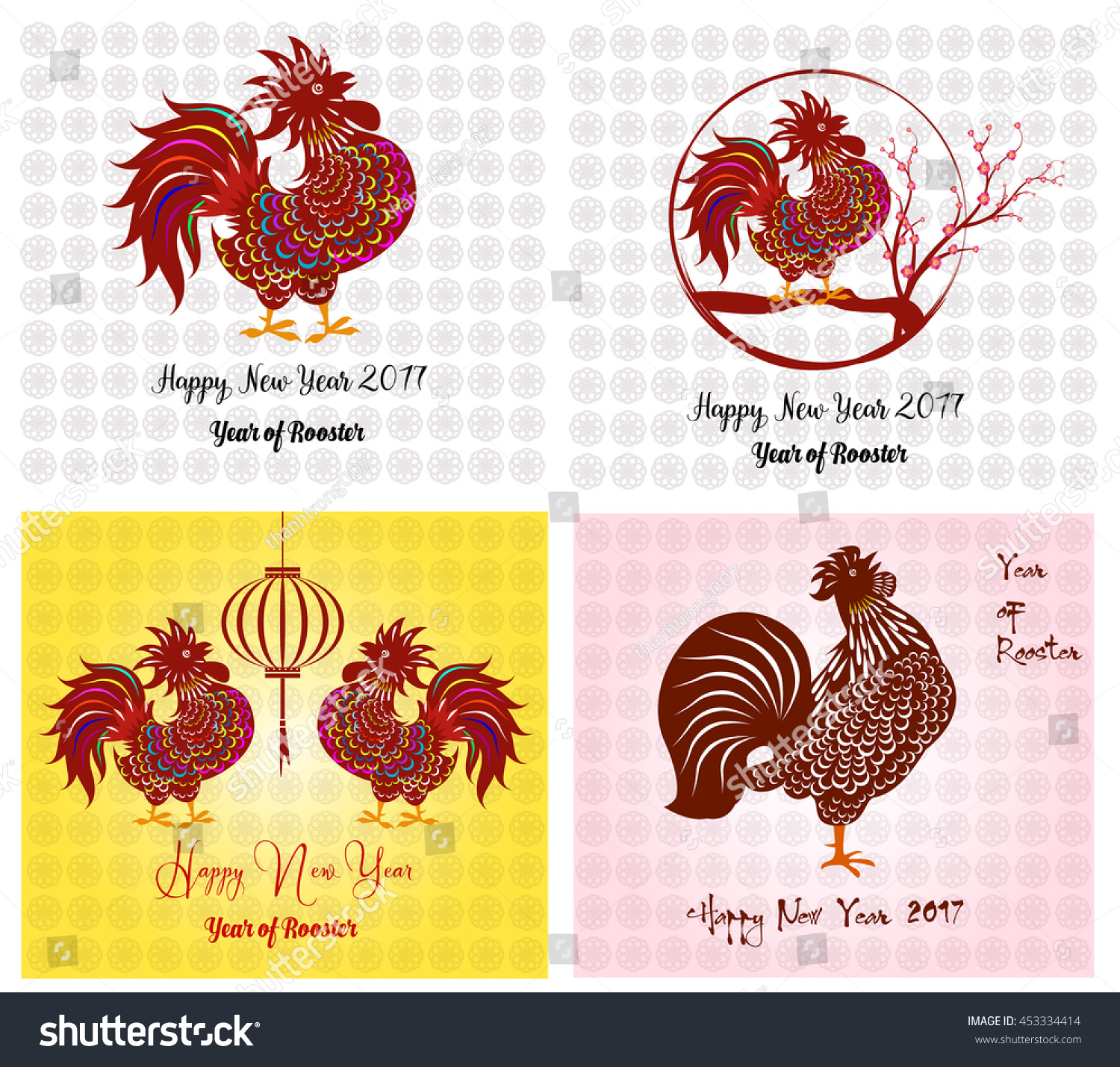 happy new year 2017 year rooster stock vector 453334414
