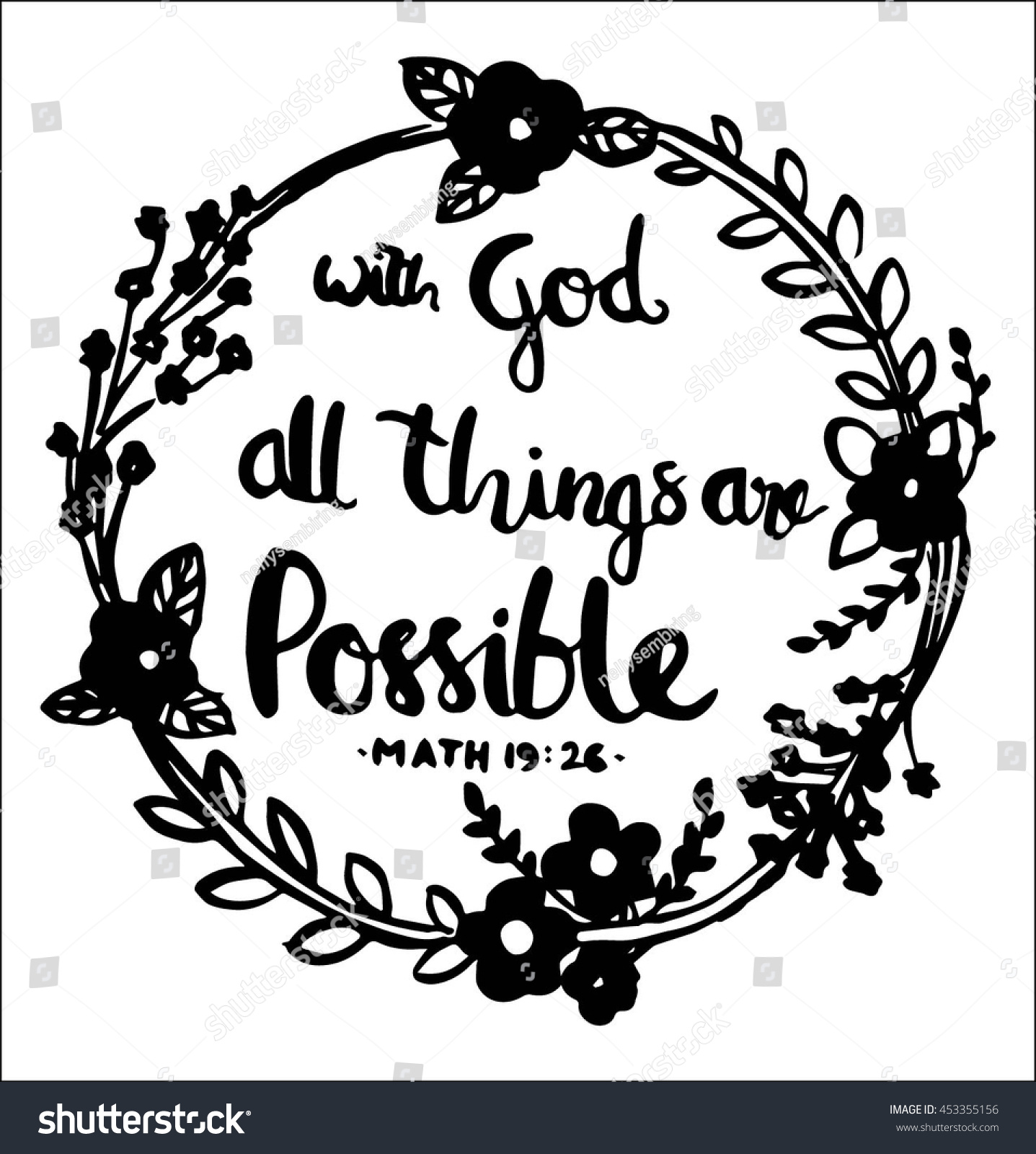 God All Things Possible Quote On Stock Vector Royalty Free