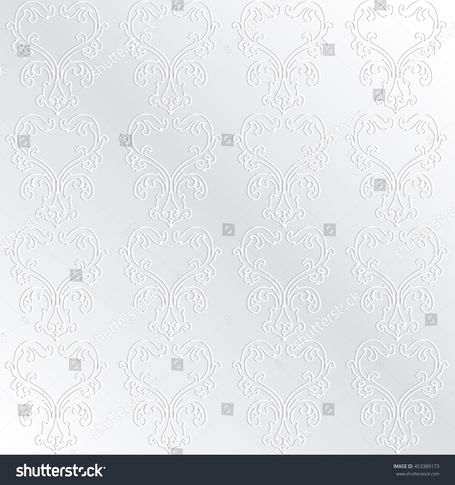 Damask Wallpaper White Silk Vector Pattern Stock Vector Royalty