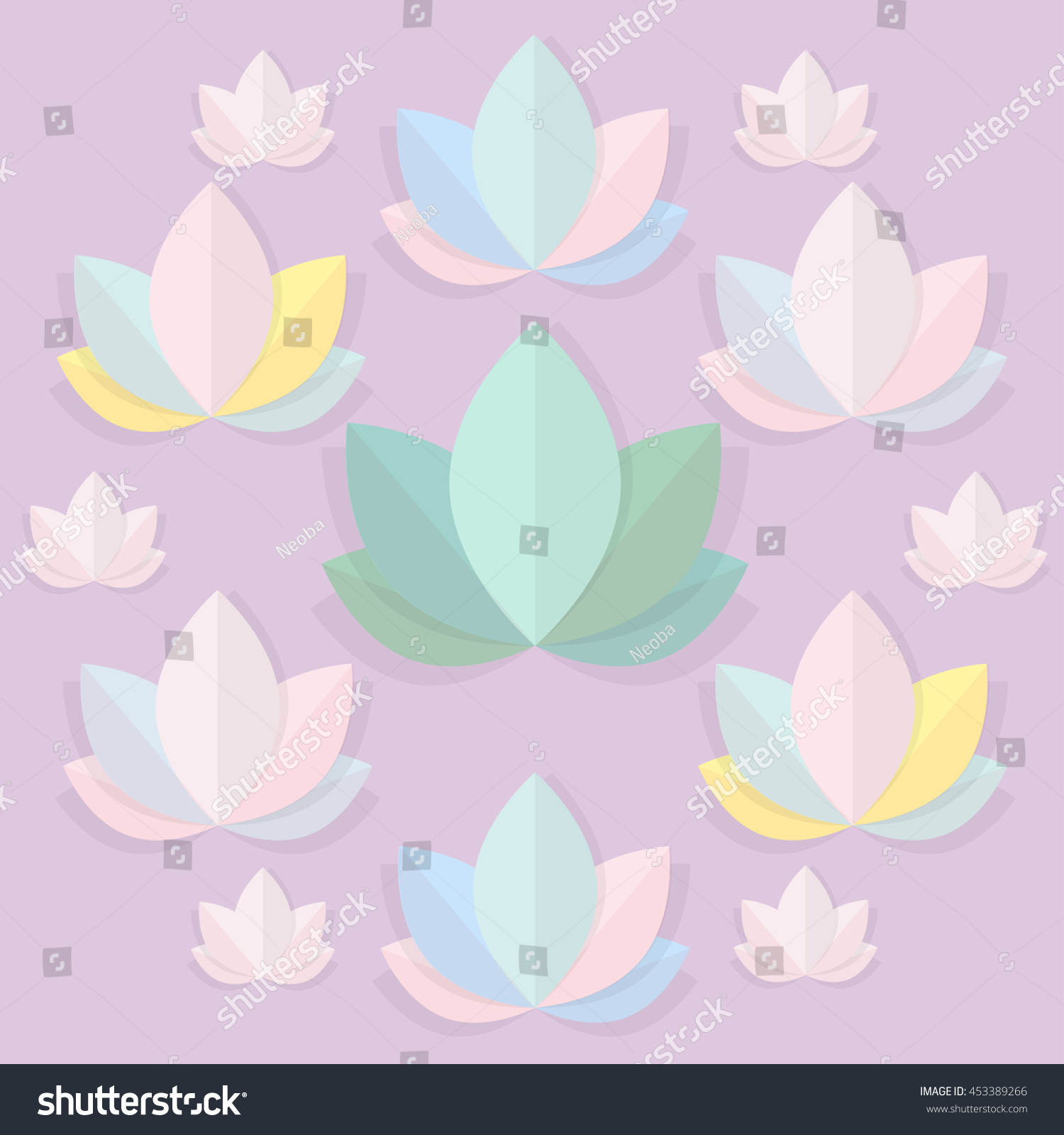 Yoga pattern background seamless pattern with five petals lotus flower - Vector Lilacpaper Lotus Pattern