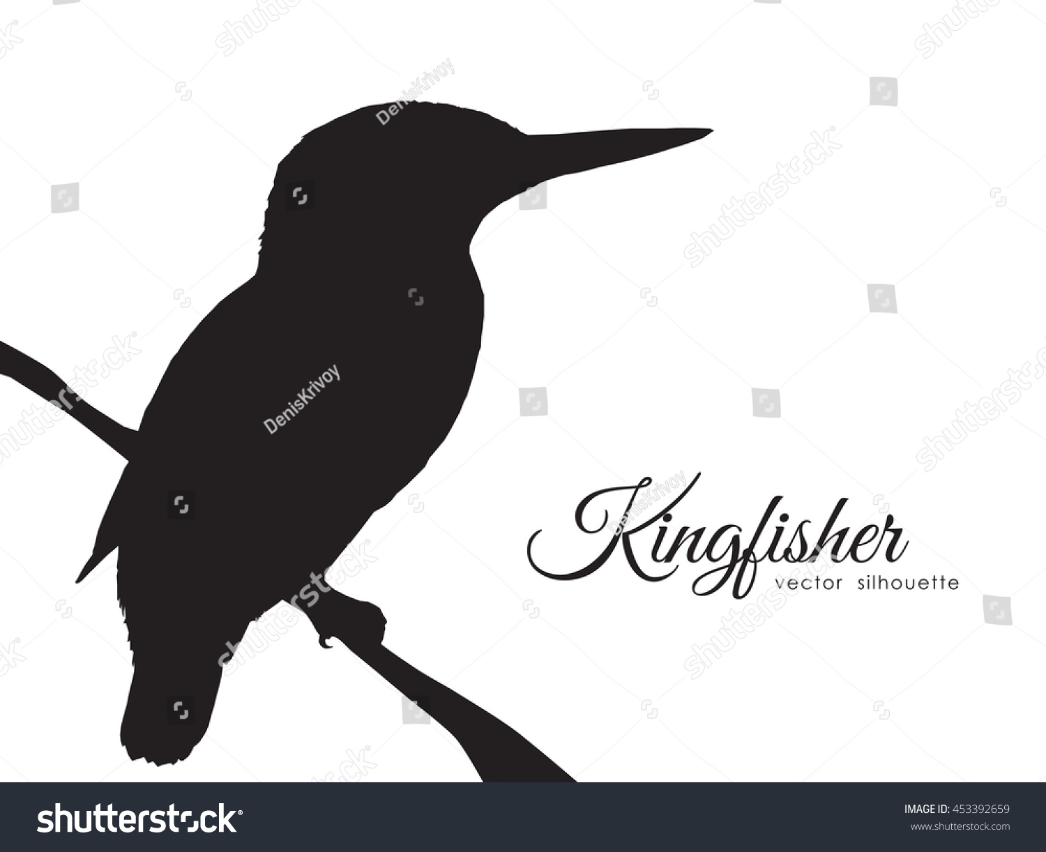 vector illustration silhouette of kingfisher sitting on a dry branch