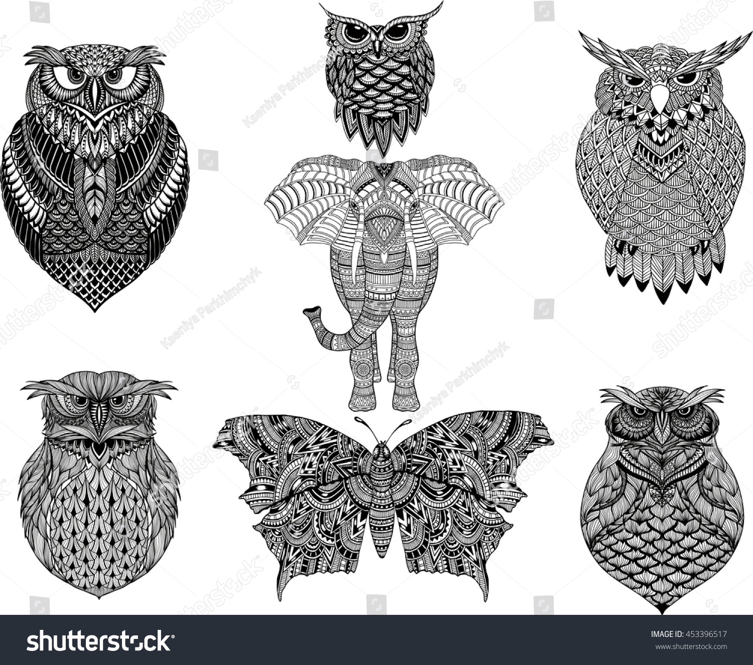 Hand Drawn Zentangle Owl Butterfly Elephant For Adult Coloring Page In Style