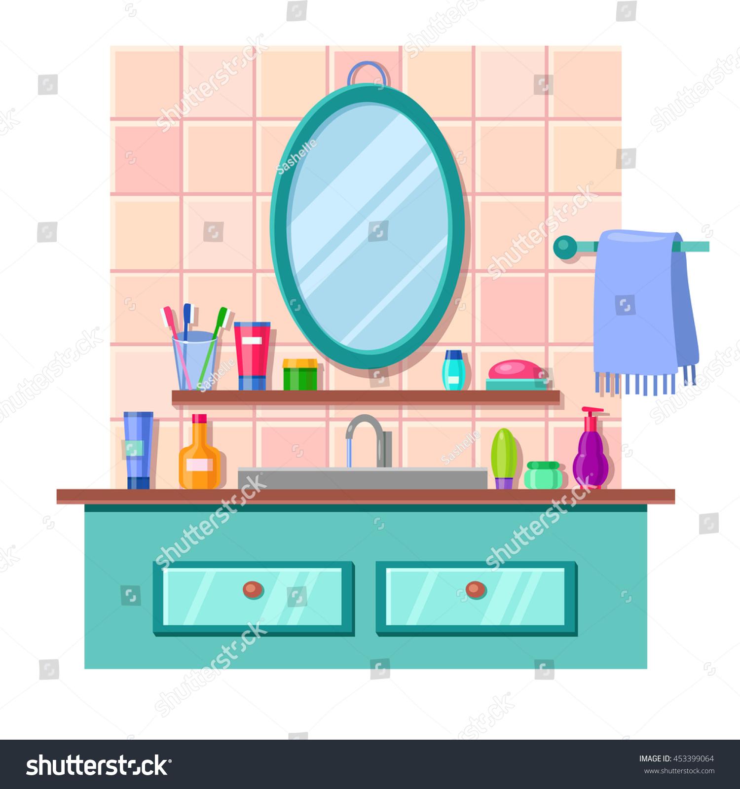 Towel Stock Lots: Vector Cartoon Bathroom Interior Mirror Sink Stock Vector