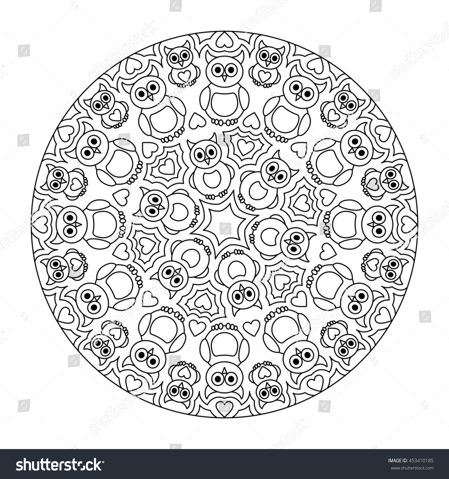 Owl Mandala Coloring Page Stock Vector Royalty Free 453410185