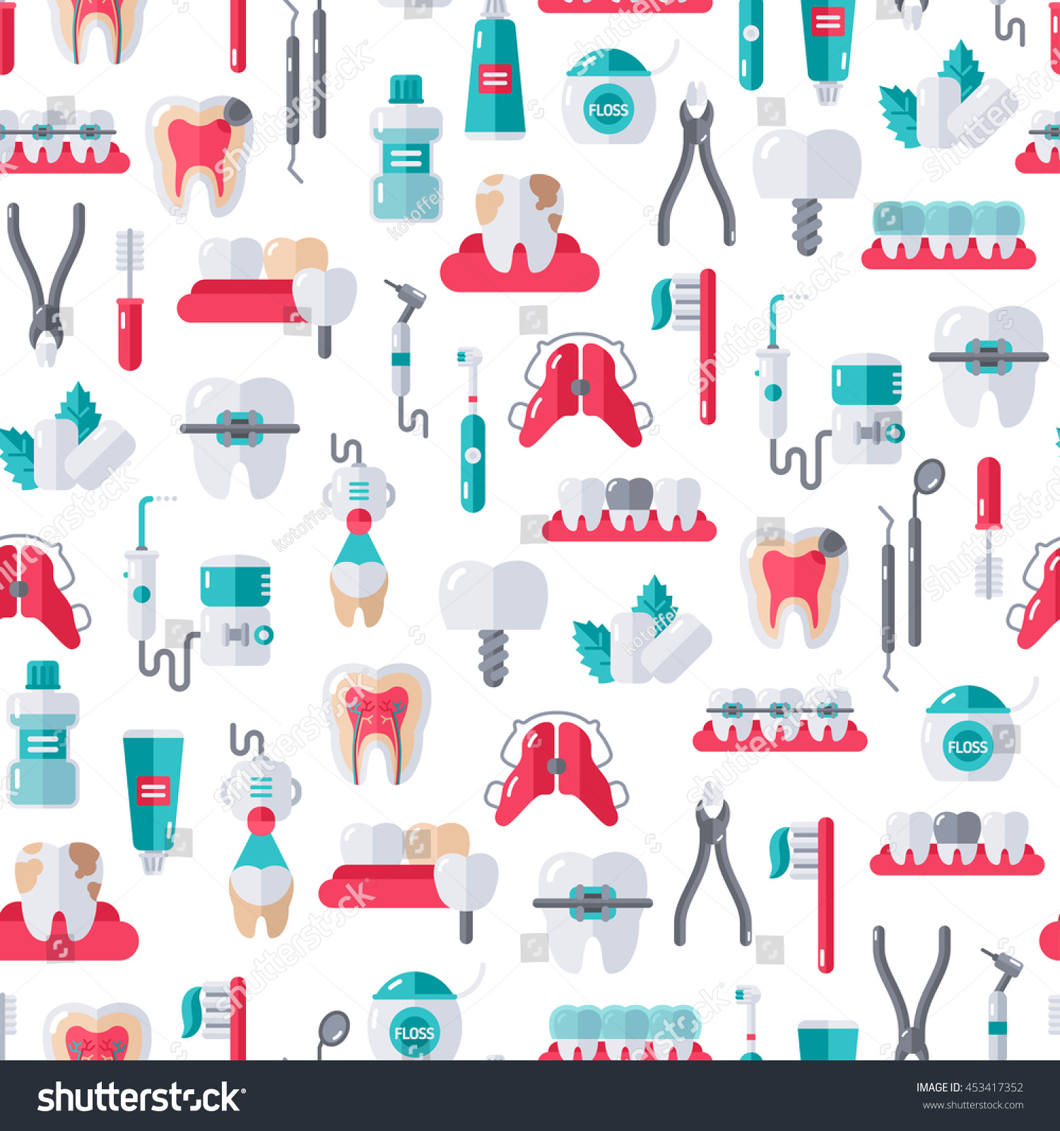 Seamless Dentist Equipment Pattern On White Background Vector Illustration Dental And Orthodontics Tools