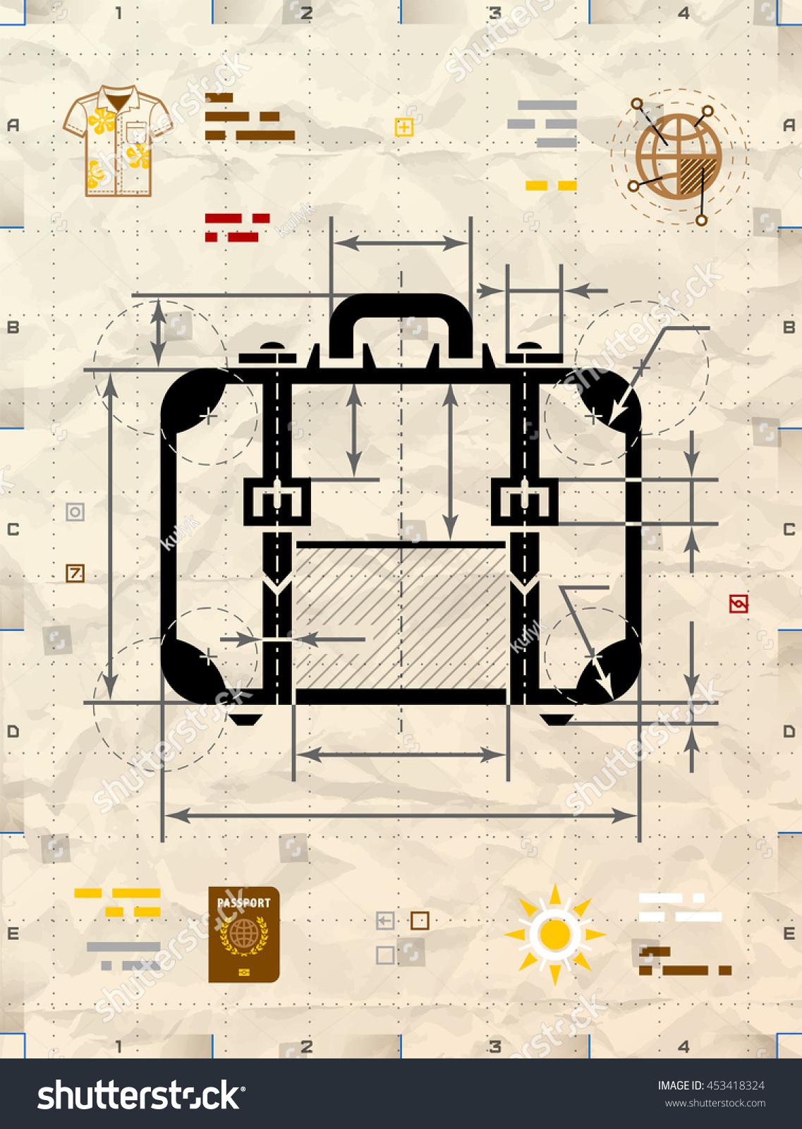 Suitcase silhouette technical blueprint drawing drafting stock suitcase silhouette as technical blueprint drawing drafting of travel bag on crumpled kraft paper malvernweather Choice Image