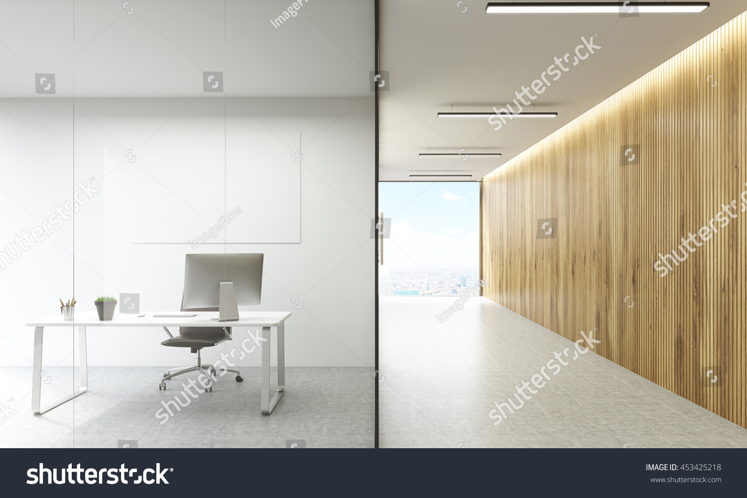 Office Room Blank Whiteboard Behind Glass Stock