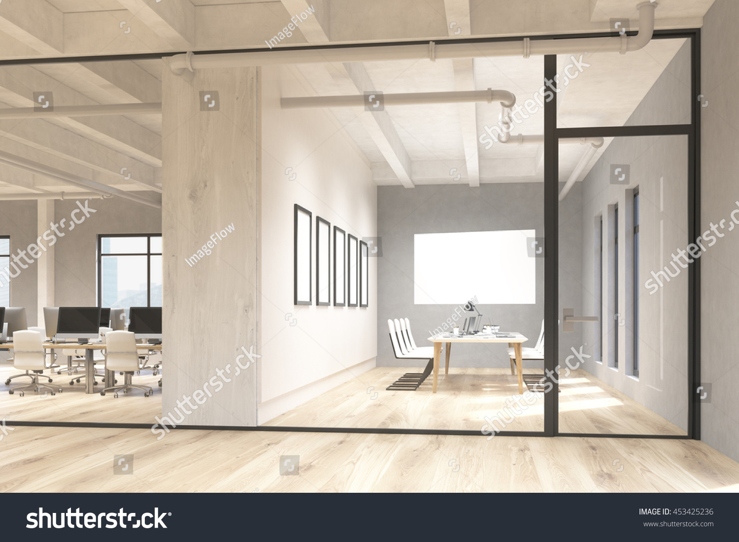 Side View Office Conference Room Interior Stock