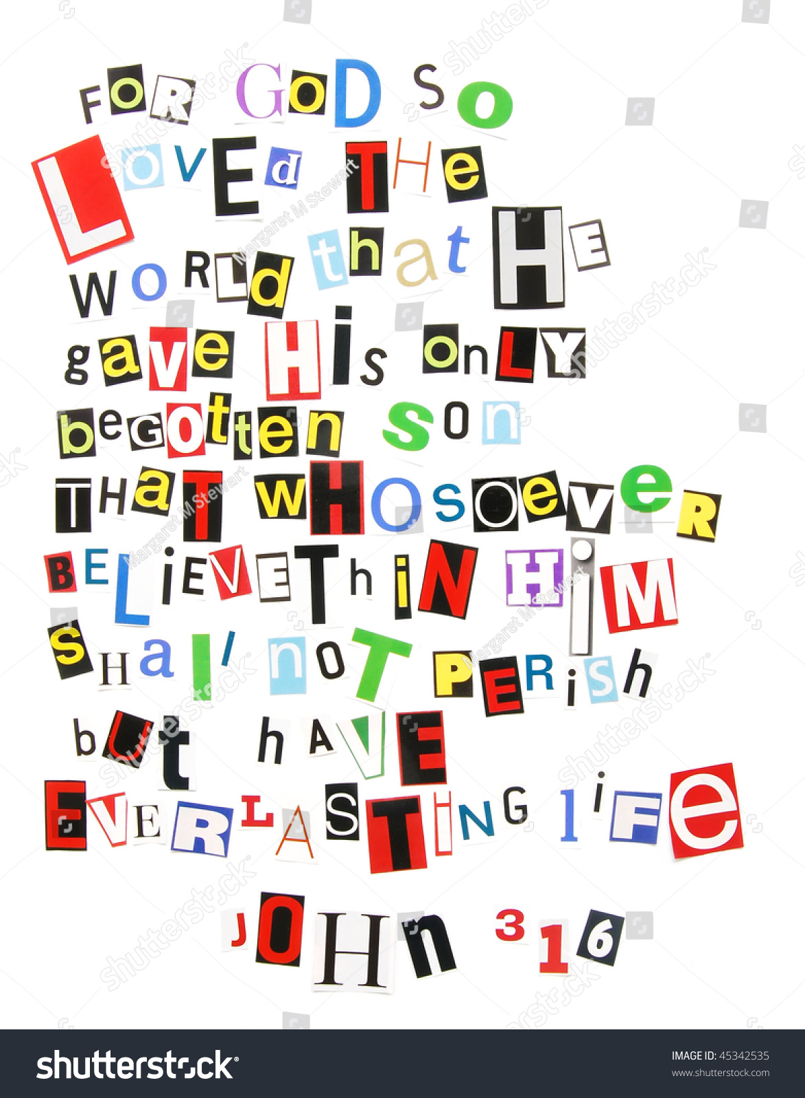 John 316 Ransom Note Style Stock Photo 45342535