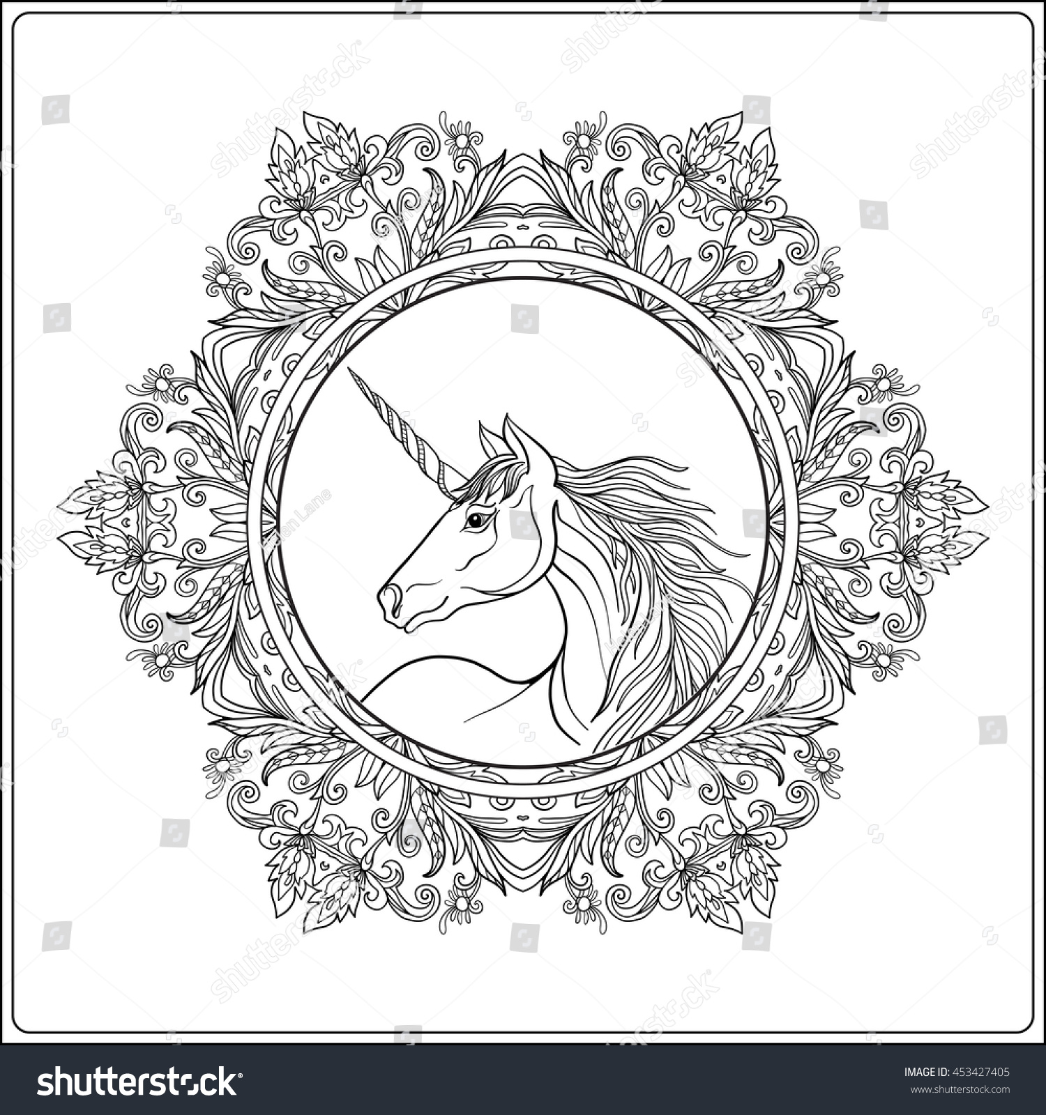 Coloring Pages For Adults Unicorns - Unicorn mandala coloring pages unicorn in vintage decorative floral mandala frame vector illustration coloring book