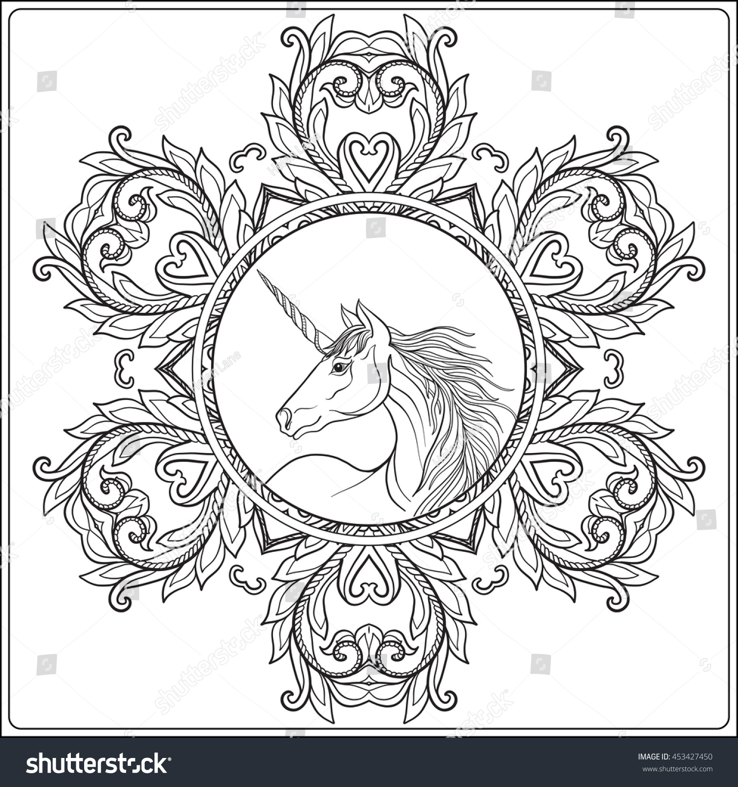 Coloring Pages For Adults Unicorns - Childrens coloring pages unicorn unicorn in vintage decorative floral mandala frame vector illustration coloring book