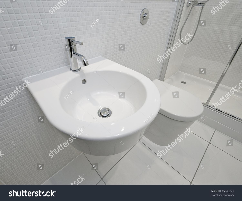 Modern Ensuite Bathroom Detail White Mosaic Stock Photo (Edit Now ...