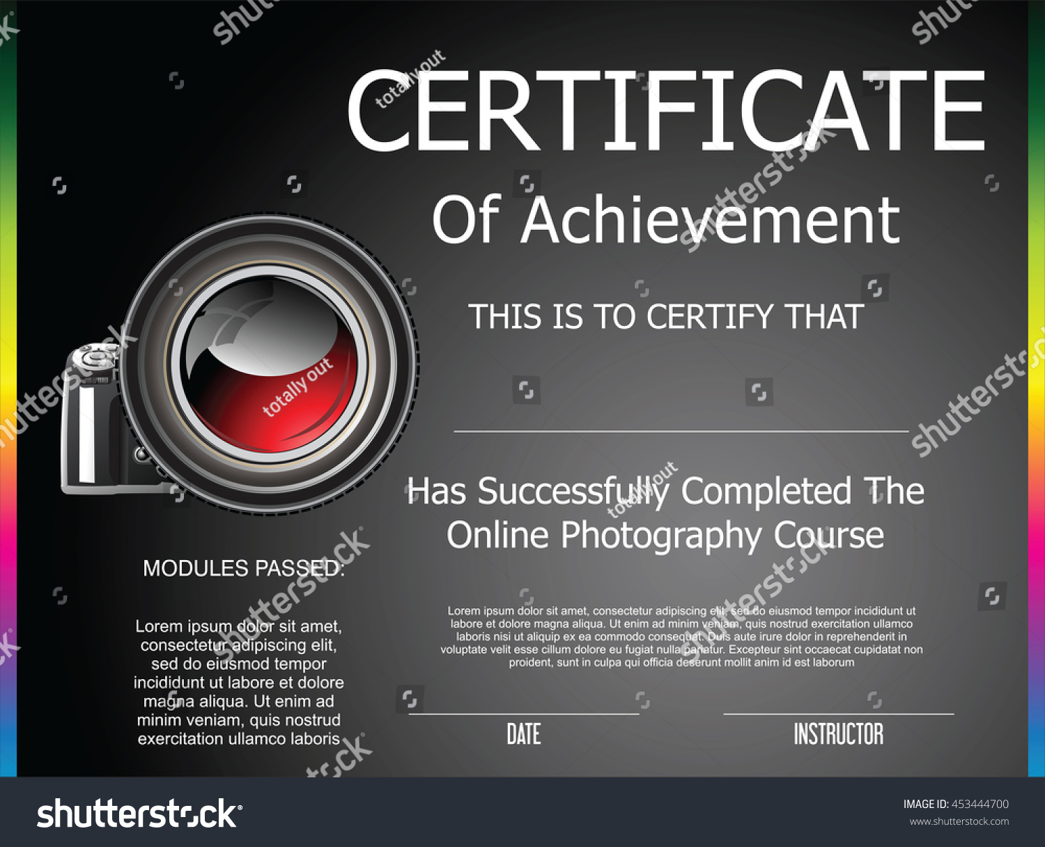 Certificate achievement online photography course stock vector certificate of achievement for online photography course 1betcityfo Gallery
