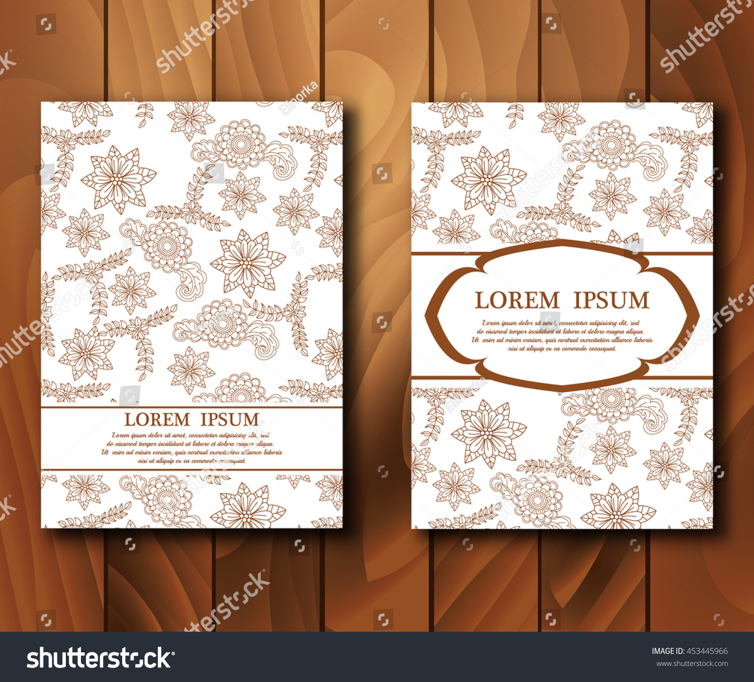 Vector Vintage Cards Mehndi Style Invitation Stock Vector 2018