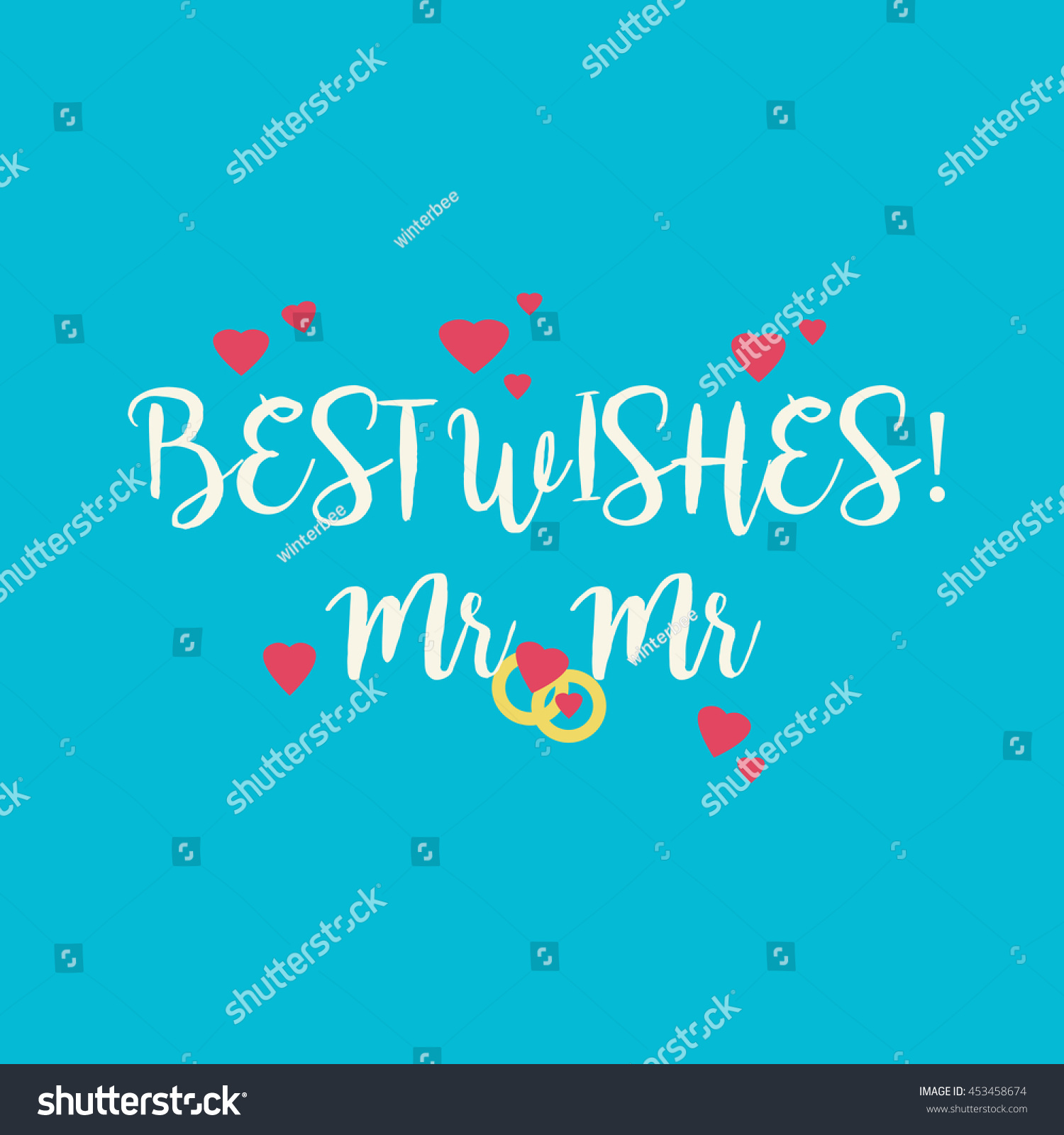Cute Wedding Best Wishes Mr Mr Stock Illustration 453458674