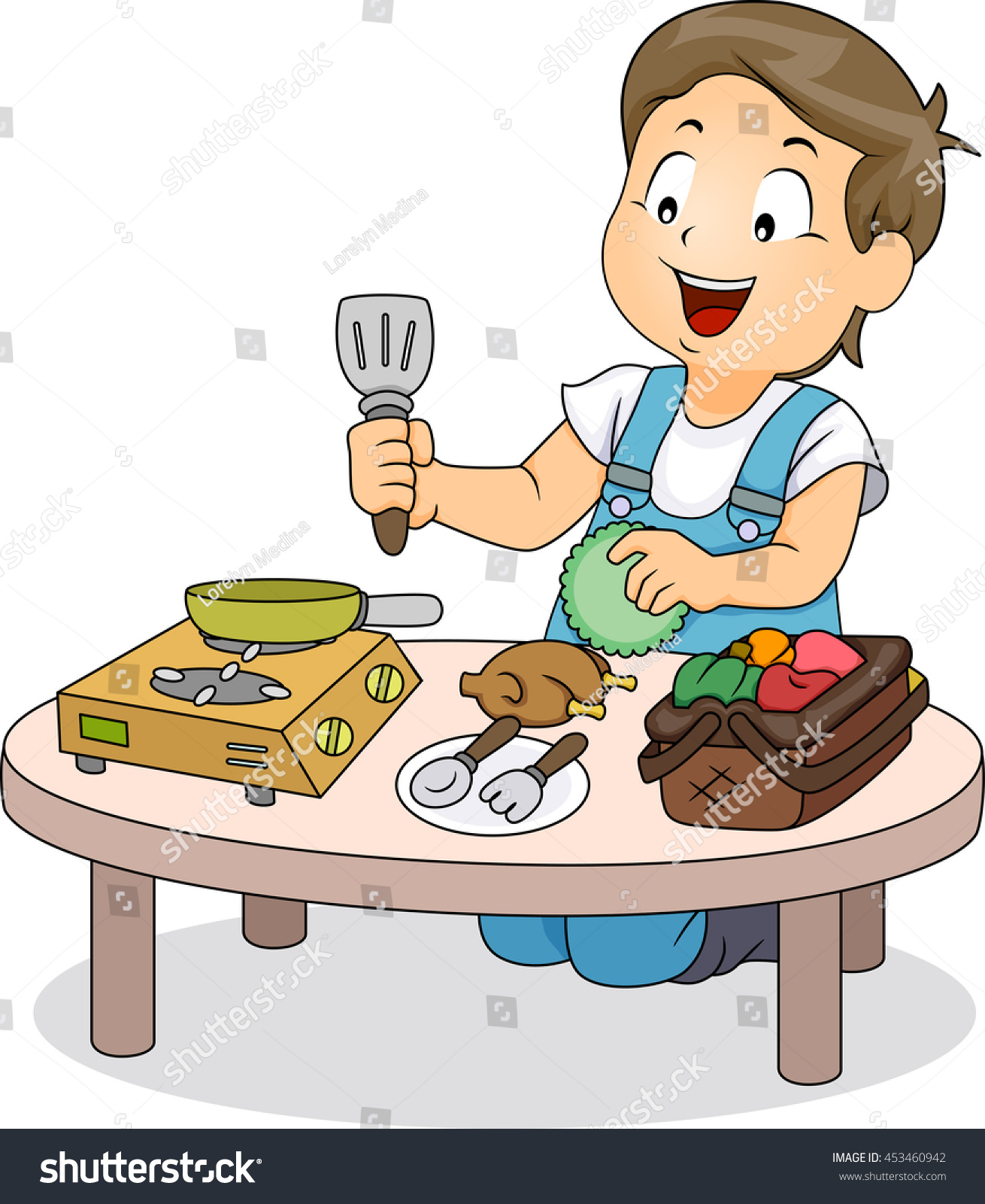 Play kitchen clip art - Illustration Of A Little Boy Playing With Mini Kitchen Utensils