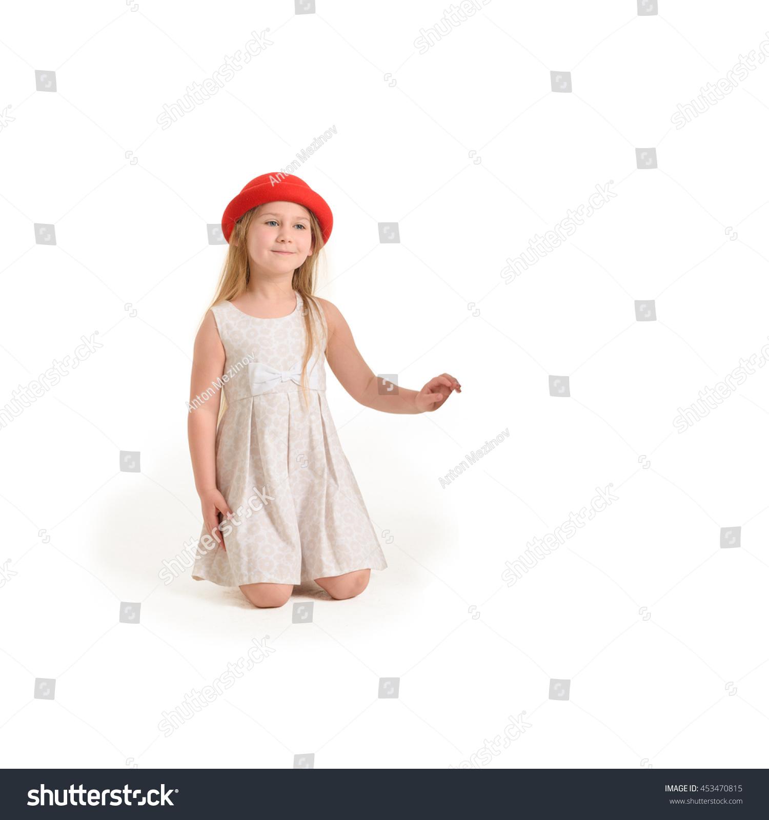 Cute Little Girl Dressed Flower Pattern Stock Photo Royalty Free