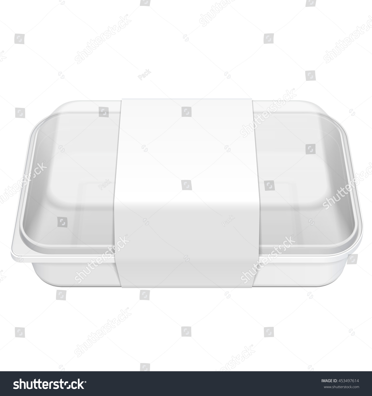 Empty Blank Styrofoam Plastic Food Tray Container Box With Lid Cover Lable Illustration Isolated On White Background Mock Up Template Ready For Your Design Vector EPS10