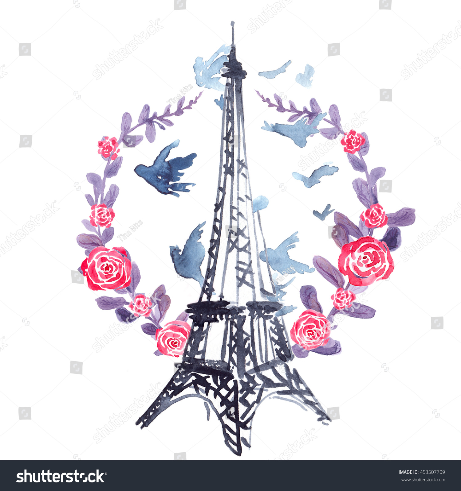Eiffel Tower In Wreath Of Purple Plants Pink Roses And Flying Birds Painted Watercolor