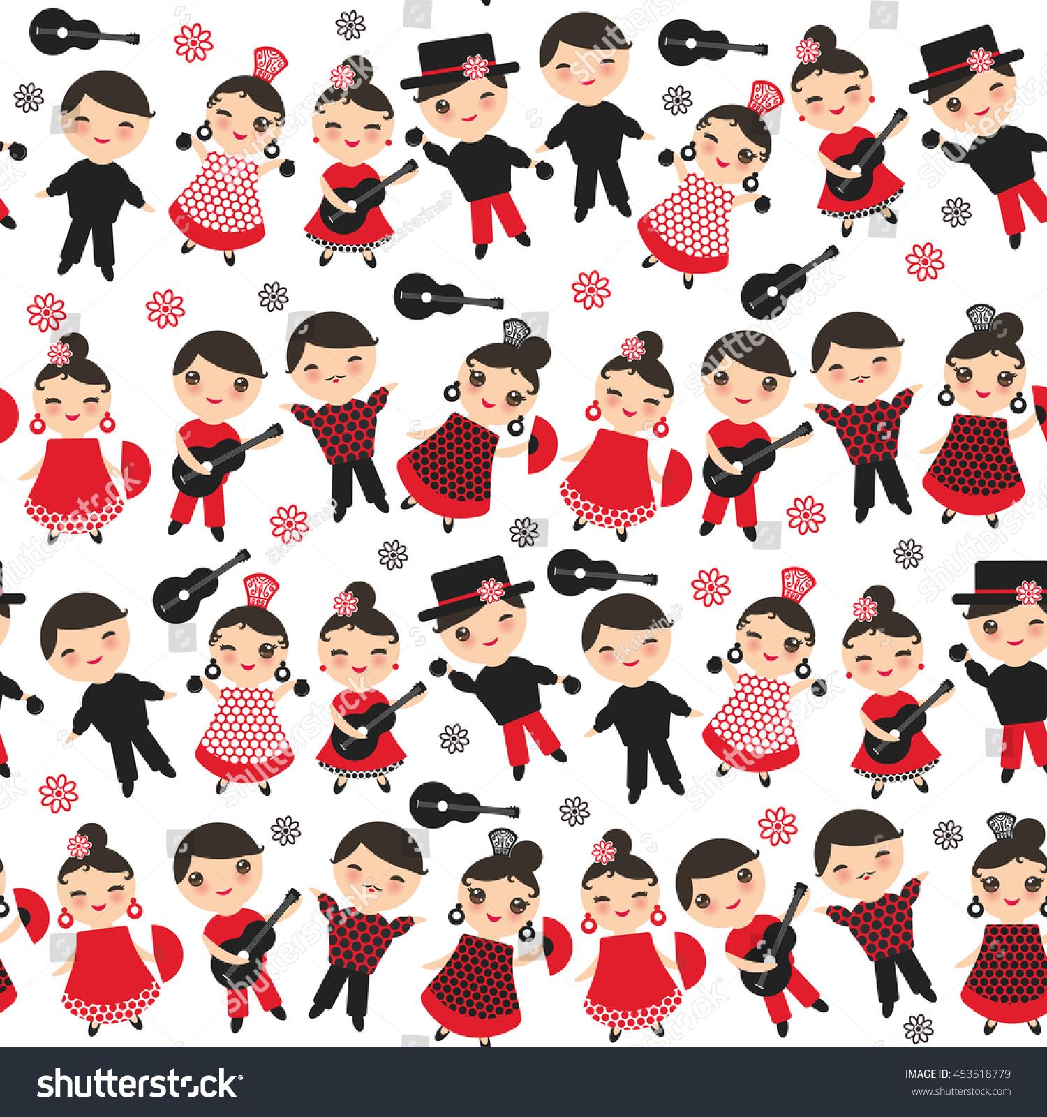 seamless pattern spanish flamenco dancer kawaii stock vector