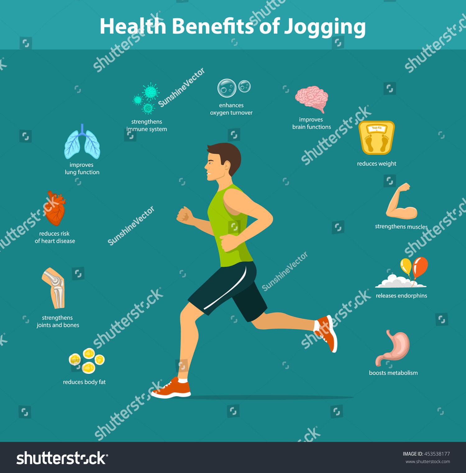 Man Running Vector Illustration Benefits Jogging Stock ...