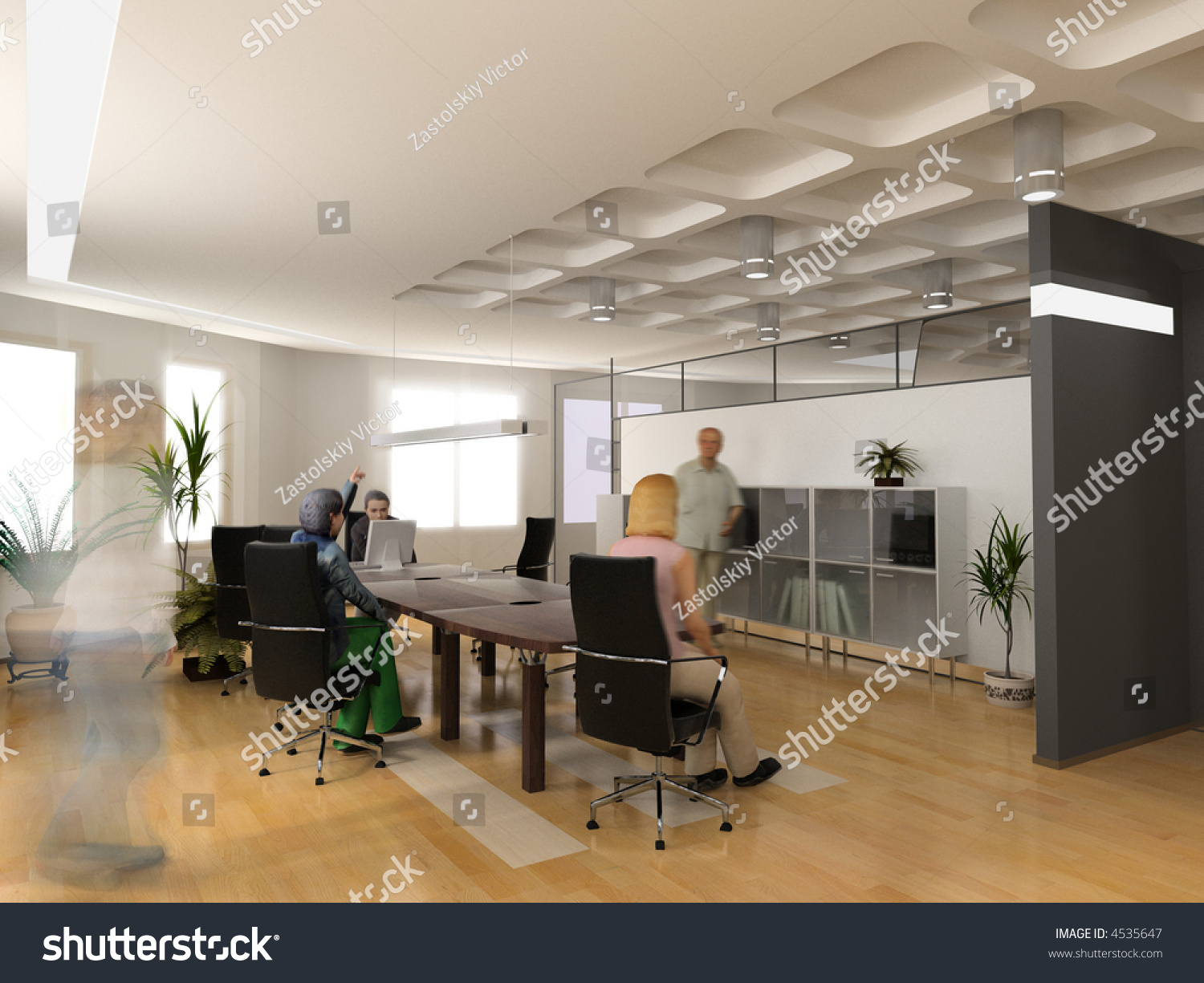 The modern office interior design 3d render stock photo - Office interior design photo gallery ...