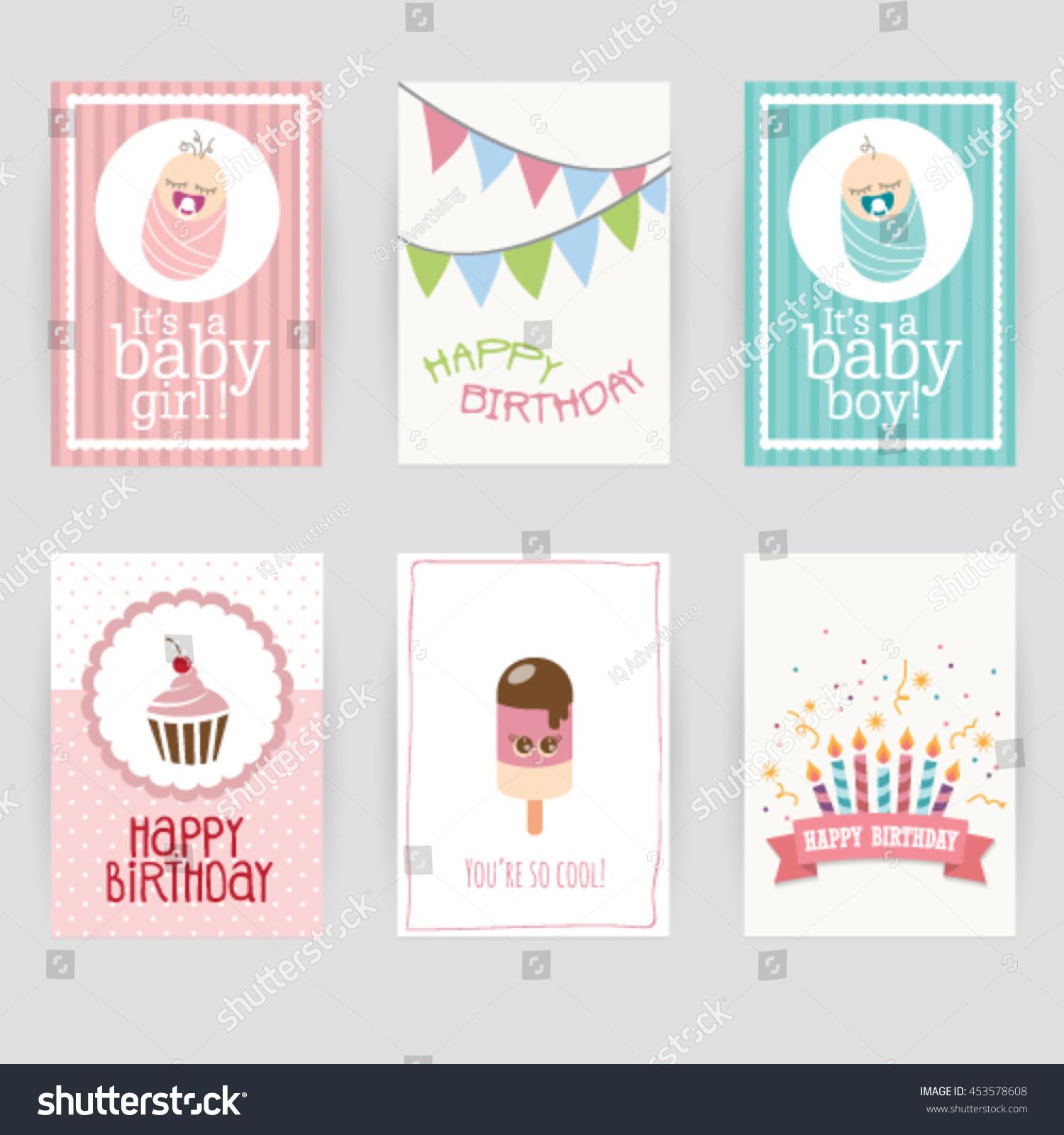 Greeting Card Birthday Invitation Card Baby Stock Vector 453578608 ...