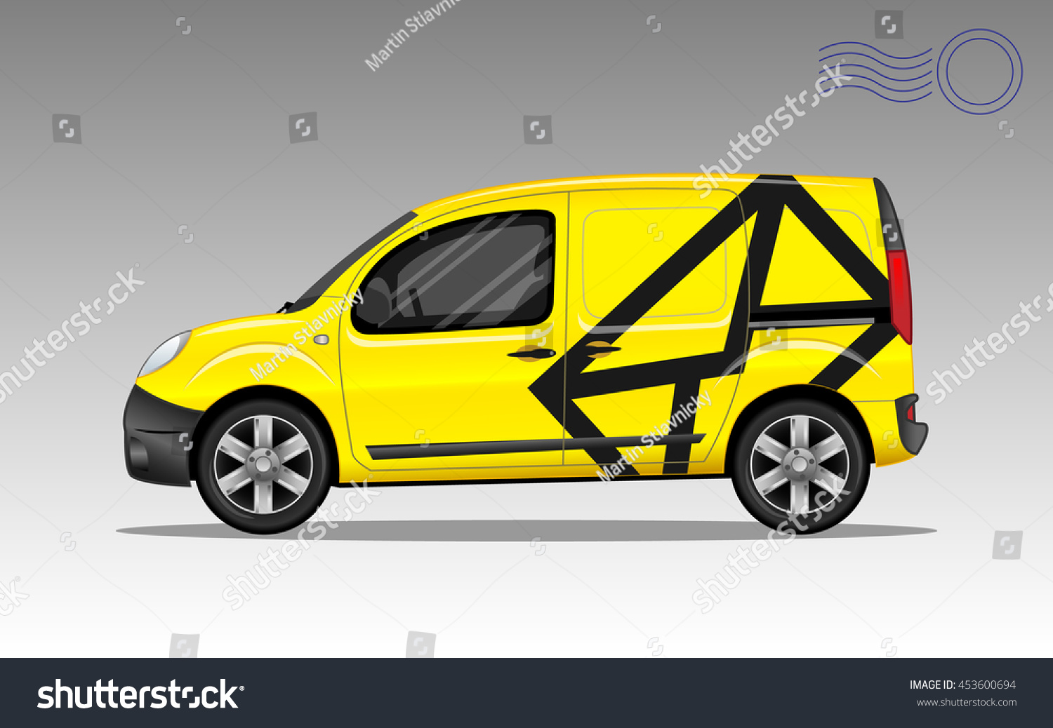 Yellow Post Car Envelope Symbol Detailed Stock Vector 453600694