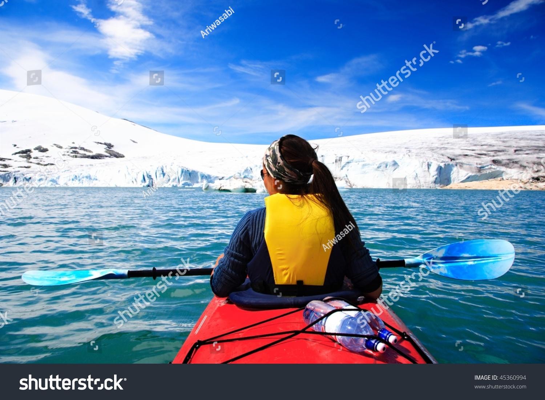 kayak woman kayaking glacier lake jostedalsbreen stock photo edit