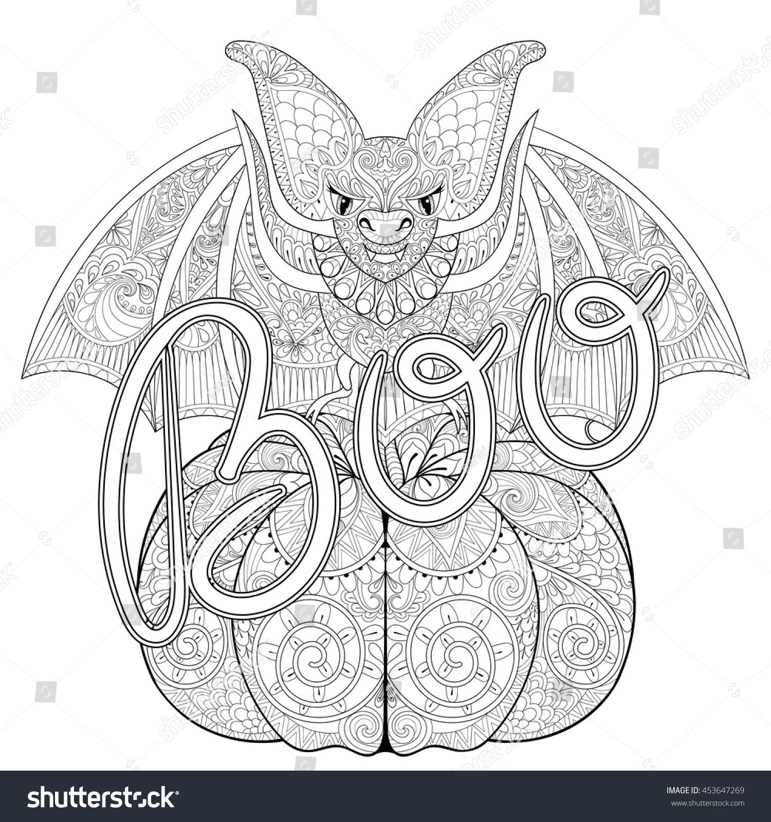 zentangle stylized bat on pumpkin boo stock vector 453647269