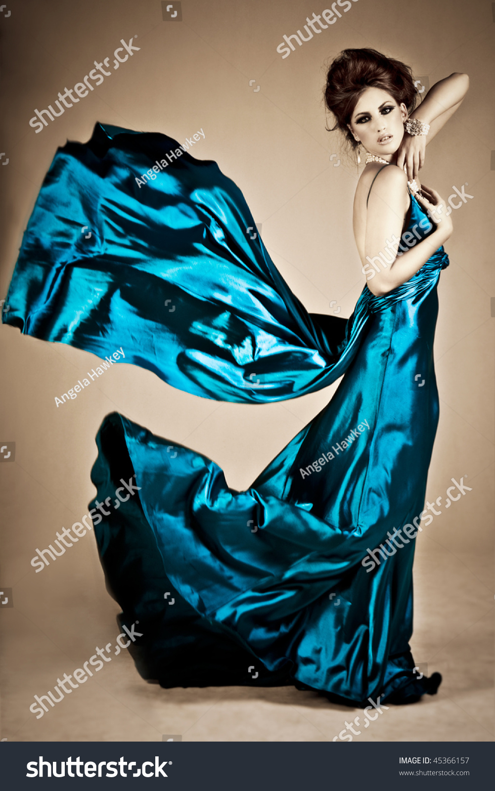 Beautiful Young Woman Holding Blue Silk Stock Photo 45366157 ...
