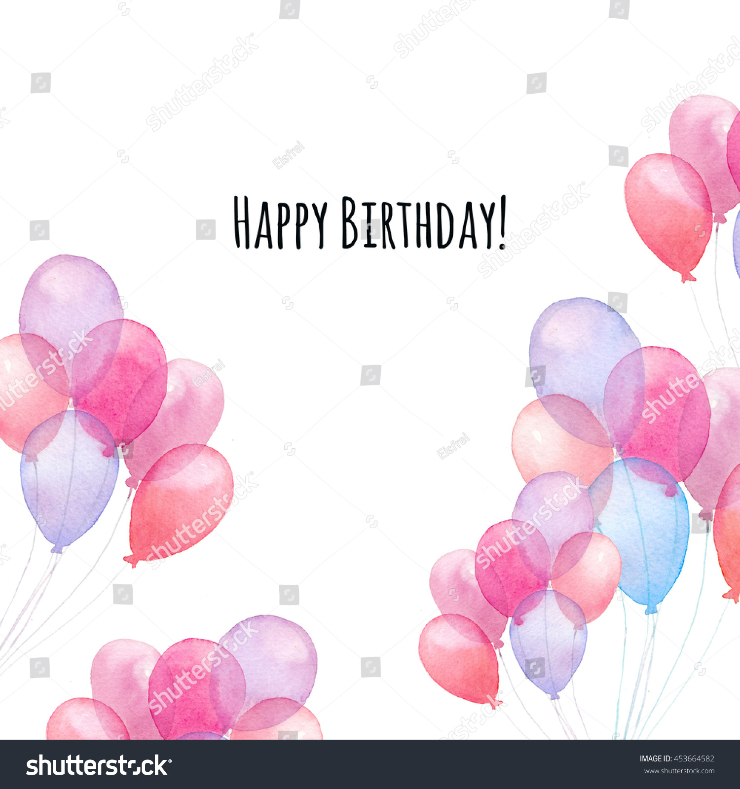 Watercolor Happy Birthday Card Hand Painted Air Balloons Square Frame Isolated On White Background