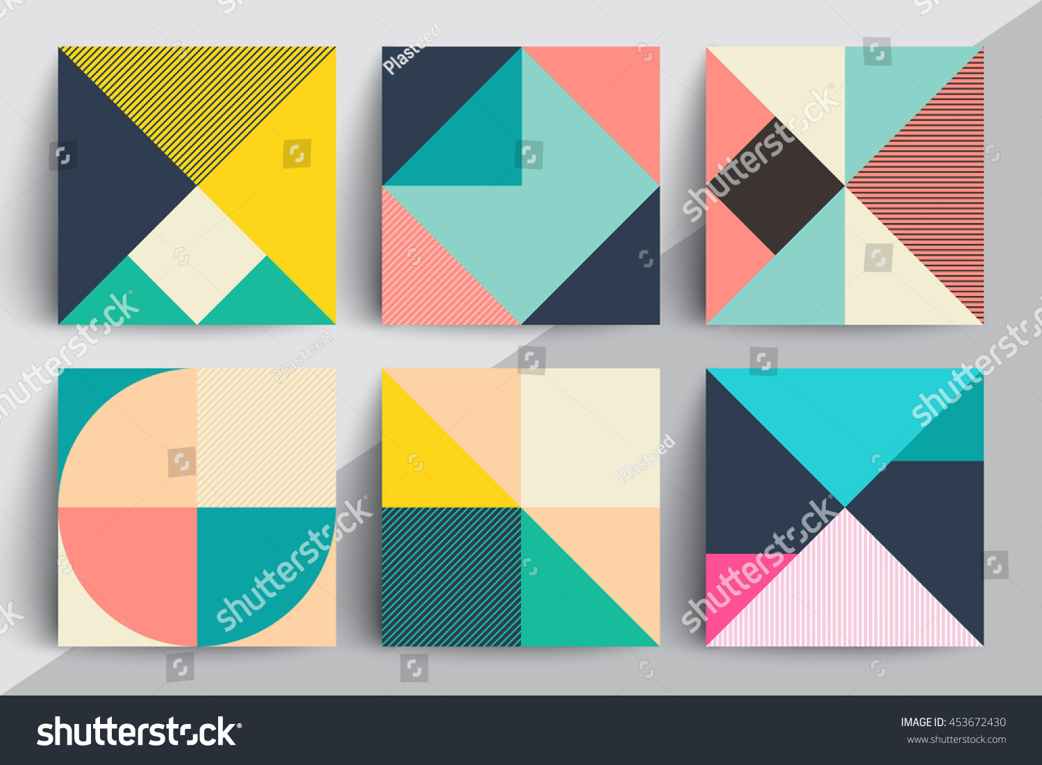 set geometric design cards applicable covers のベクター画像素材
